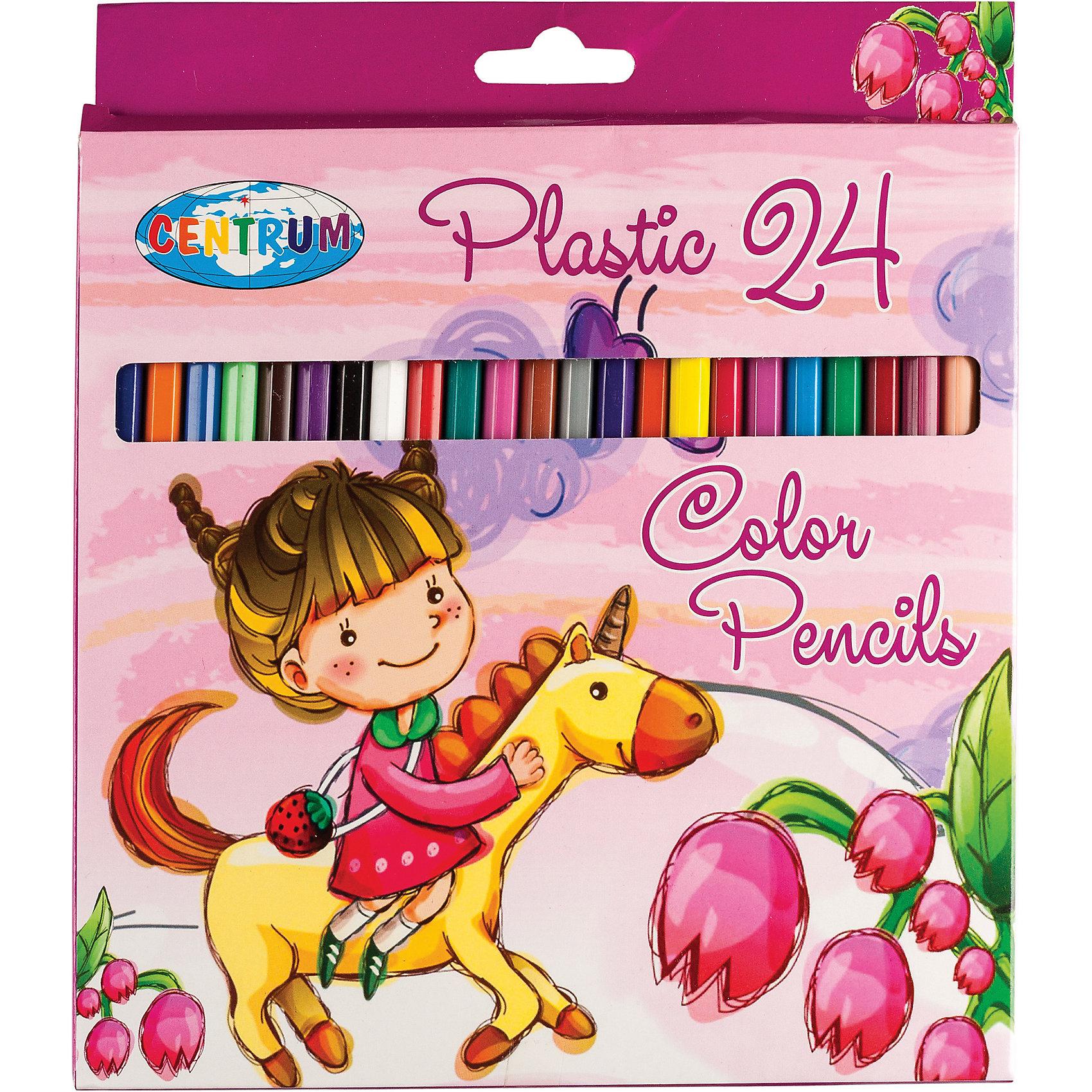Цветные карандаши Единорог, 24 цветаДлинные цветные карандаши Единорог, 24 цветов<br><br>Характеристики:<br><br>- в набор входит: 18 карандашей <br>- состав: пластик, картон<br>- длина карандашей: 17,7 см. <br>- размер упаковки: 21 * 1 * 21 см.<br>- для детей в возрасте: от 3 до 10 лет<br>- страна производитель: Китай<br><br>Набор цветных карандашей с рисунком девочки и единорога понравится девчушкам. Немецкая компания Centrum (Центрум) специализируется на товарах для детского творчества и развития. Яркая коробочка выполнена из картона и отлично вмещает все карандаши, не позволяя им разбегаться по столу или школьному ранцу. Сами карандаши выполнены из пластика, уже заточены, имеют мягкую структуру грифеля и рисуют яркие линии без сильного нажатия. Как известно, цвета карандашей не так уж и удобно смешивать, поэтому чем больше цветов, тем лучше! Целых двадцать четыре цвета помогут нарисовать самый лучший шедевр и просто отлично провести время. Рисование карандашами разрабатывает моторику ручек, творческие способности, успокаивает, помогает развить аккуратность и внимание. <br><br>Длинные цветные карандаши Единорог, 24 цветов можно купить в нашем интернет-магазине.<br><br>Ширина мм: 9<br>Глубина мм: 177<br>Высота мм: 205<br>Вес г: 125<br>Возраст от месяцев: 36<br>Возраст до месяцев: 120<br>Пол: Женский<br>Возраст: Детский<br>SKU: 5175451