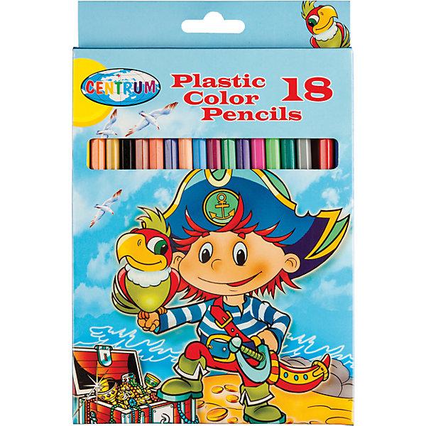 Цветные карандаши Пираты, 18 цветовЦветные<br>Цветные карандаши Пираты, 18 цветов<br><br>Характеристики:<br><br>- в набор входит: 18 карандашей <br>- состав: пластик, картон<br>- длина карандашей: 17,7 см. <br>- размер упаковки: 21 * 1 * 15 см.<br>- для детей в возрасте: от 3 до 10 лет<br>- страна производитель: Китай<br><br>Набор цветных карандашей с рисунком озорного пирата понравится мальчишкам. Немецкая компания Centrum (Центрум) специализируется на товарах для детского творчества и развития. Яркая коробочка выполнена из картона и отлично вмещает все карандаши, не позволяя им разбегаться по столу или школьному ранцу. Сами карандаши выполнены из пластика, уже заточены, имеют мягкую структуру грифеля и рисуют яркие линии без сильного нажатия. Как известно, цвета карандашей не так уж и удобно смешивать, поэтому чем больше цветов, тем лучше! Целых восемнадцать цветов помогут нарисовать самый лучший шедевр и просто отлично провести время. Рисование карандашами разрабатывает моторику ручек, творческие способности, успокаивает, помогает развить аккуратность и внимание. <br><br>Цветные карандаши Пираты, 18 цветов можно купить в нашем интернет-магазине.<br><br>Ширина мм: 10<br>Глубина мм: 130<br>Высота мм: 205<br>Вес г: 142<br>Возраст от месяцев: 36<br>Возраст до месяцев: 120<br>Пол: Мужской<br>Возраст: Детский<br>SKU: 5175452