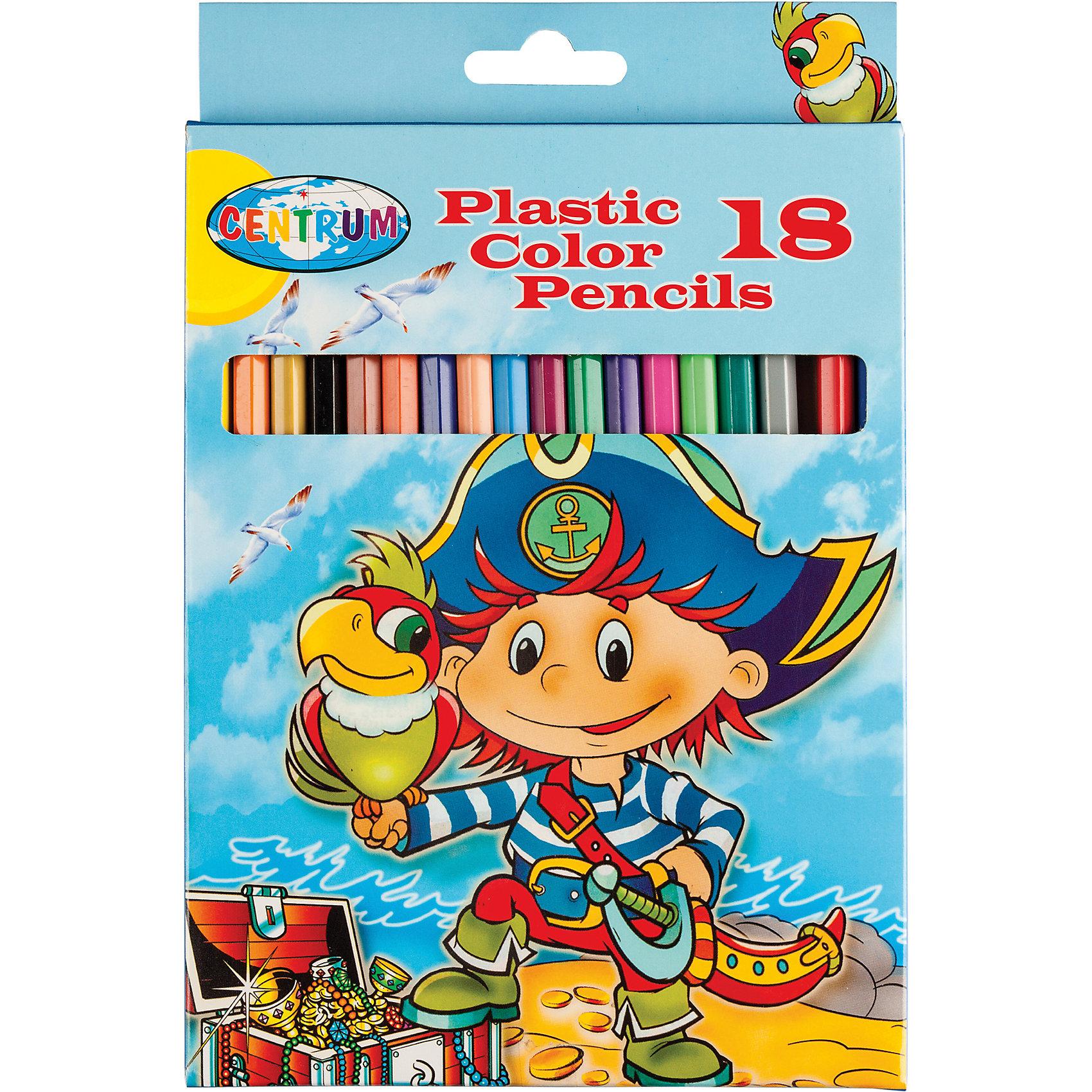 CENTRUM Цветные карандаши Пираты, 18 цветов centrum цветные карандаши jumbo жираф 6 цветов