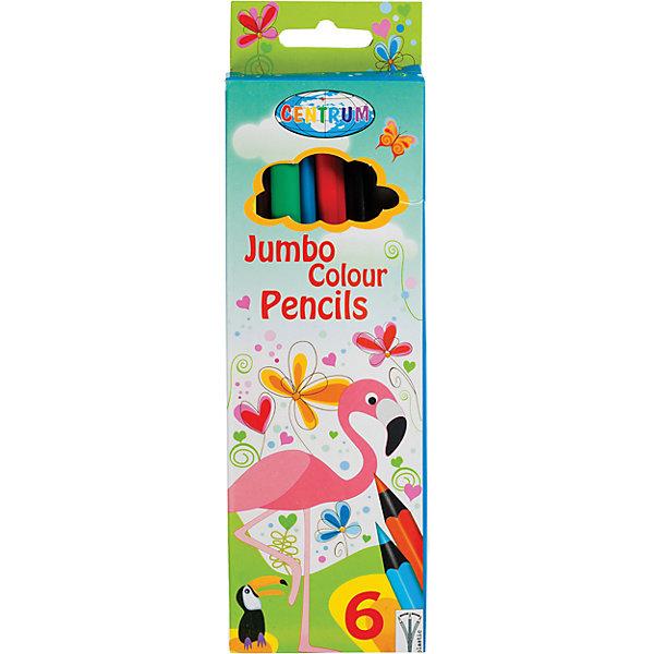 Цветные карандаши JUMBO Жираф, 6 цветовЦветные<br>Цветные карандаши Жираф, 6 цветов<br><br>Характеристики:<br><br>- в набор входит: 6 трехгранных карандашей <br>- состав: пластик, картон<br>- длина карандашей: 17,7 см. <br>- размер упаковки: 20 * 1 * 7 см.<br>- для детей в возрасте: от 3 до 10 лет<br>- страна производитель: Китай <br><br>Набор цветных карандашей с рисунком веселого жирафа понравится и девочкам и мальчикам. Немецкая компания Centrum (Центрум) специализируется на товарах для детского творчества и развития. Яркая коробочка выполнена из картона и отлично вмещает все карандаши, не позволяя им разбегаться по столу или школьному ранцу. Сами карандаши выполнены из пластика, имеют три грани, которы позвалют ребенку держать карандаш удобнее, уже заточены, имеют мягкую структуру грифеля и рисуют яркие линии без сильного нажатия. Классические шесть цветов помогут нарисовать самый лучший шедевр и просто отлично провести время. Рисование карандашами разрабатывает моторику ручек, творческие способности, успокаивает, помогает развить аккуратность и внимание. <br><br>Цветные карандаши Жираф, 6 цветов можно купить в нашем интернет-магазине.<br><br>Ширина мм: 12<br>Глубина мм: 63<br>Высота мм: 205<br>Вес г: 76<br>Возраст от месяцев: 36<br>Возраст до месяцев: 120<br>Пол: Унисекс<br>Возраст: Детский<br>SKU: 5175454