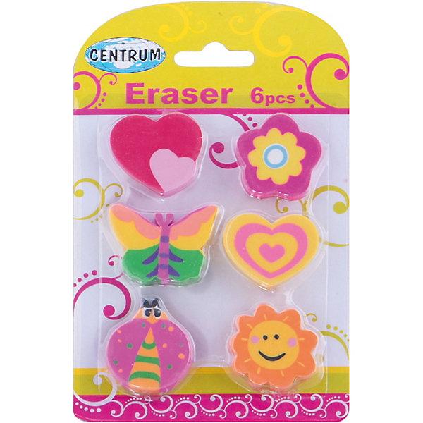 Ластики Цветы и Сердца, 6 штук (каучук)Чертежные принадлежности<br>Ластики Цветы и Сердца, 6 штук (каучук)<br><br>Характеристики:<br><br>- в набор входит: 6 ластиков<br>- состав: каучук<br>- размер упаковки: 15 * 1 * 9,5 см.<br>- для детей в возрасте: от 3х лет<br>- страна производитель: Китай<br><br>Целый набор ярких и интересных ластиков из коллекции «Цветы и Сердца» от немецкого бренда Centrum (Центрум) обязательно понравится девочкам! Теперь все ненужные записи будут надежно удалены. Ластики не оставляют много катышек, удобны в использовании, не оставляют следов, отлично стирают надписи карандаша. Веселые ластики в виде цветочков, бабочки, сердечек и пр. упакованы в блистер. <br><br>Ластики Цветы и Сердца, 6 штук (каучук) можно купить в нашем интернет-магазине.<br><br>Ширина мм: 10<br>Глубина мм: 95<br>Высота мм: 150<br>Вес г: 77<br>Возраст от месяцев: 36<br>Возраст до месяцев: 120<br>Пол: Женский<br>Возраст: Детский<br>SKU: 5175458