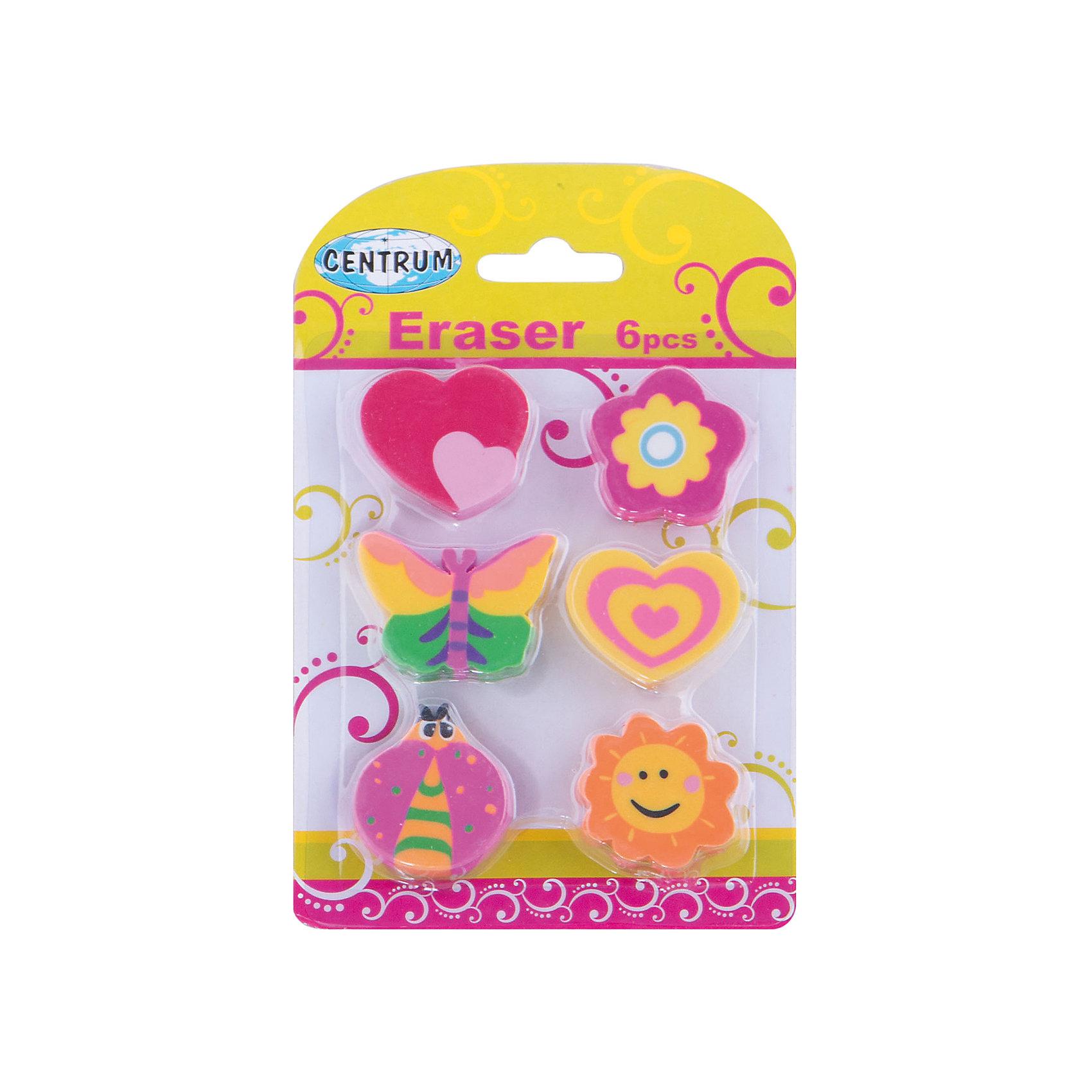 CENTRUM Ластики Цветы и Сердца, 6 штук (каучук) centrum магниты смайлы 6 штук