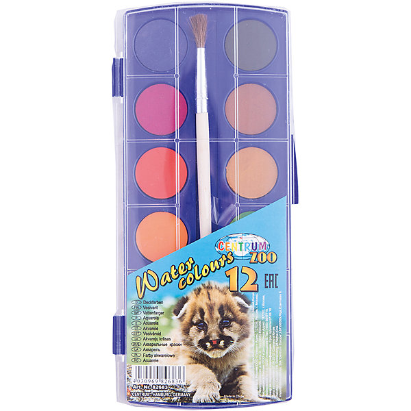 Краски акварельные сухие, 12 цветовРисование и лепка<br>Краски акварельные сухие, 12 цветов<br><br>Характеристики:<br><br>- в набор входит: краски, кисть<br>- размер упаковки: 9 * 1 * 30 см.<br>- для детей в возрасте: от 3 до 12 лет<br>- страна производитель: Китай<br><br>Целый набор ярких акварельных красок из коллекции «Зоопарк» от немецкого бренда Centrum (Центрум) понравится как девочкам, так и мальчикам! Классические двенадцать цветов, которые можно смешивать между собой позволят выполнить любой шедевр. Специальная формула красок хорошо отмывается от одежды и в тоже время позволяет цветам быть насыщенными на альбомном листе. Оттенки этих сухих красок более спокойные, чем у медовой акварели. Удобная кисточка выполнена из натурального волоса. Работая с краскам дети развивают творческие способности, аккуратность, моторику рук, усидчивость, восприятие цвета и логику смешивания цветов, выражают свой внутренний мир в рисунках. <br><br>Краски акварельные сухие, 12 цветов можно купить в нашем интернет-магазине.<br>Ширина мм: 300; Глубина мм: 90; Высота мм: 10; Вес г: 120; Возраст от месяцев: 36; Возраст до месяцев: 120; Пол: Унисекс; Возраст: Детский; SKU: 5175463;