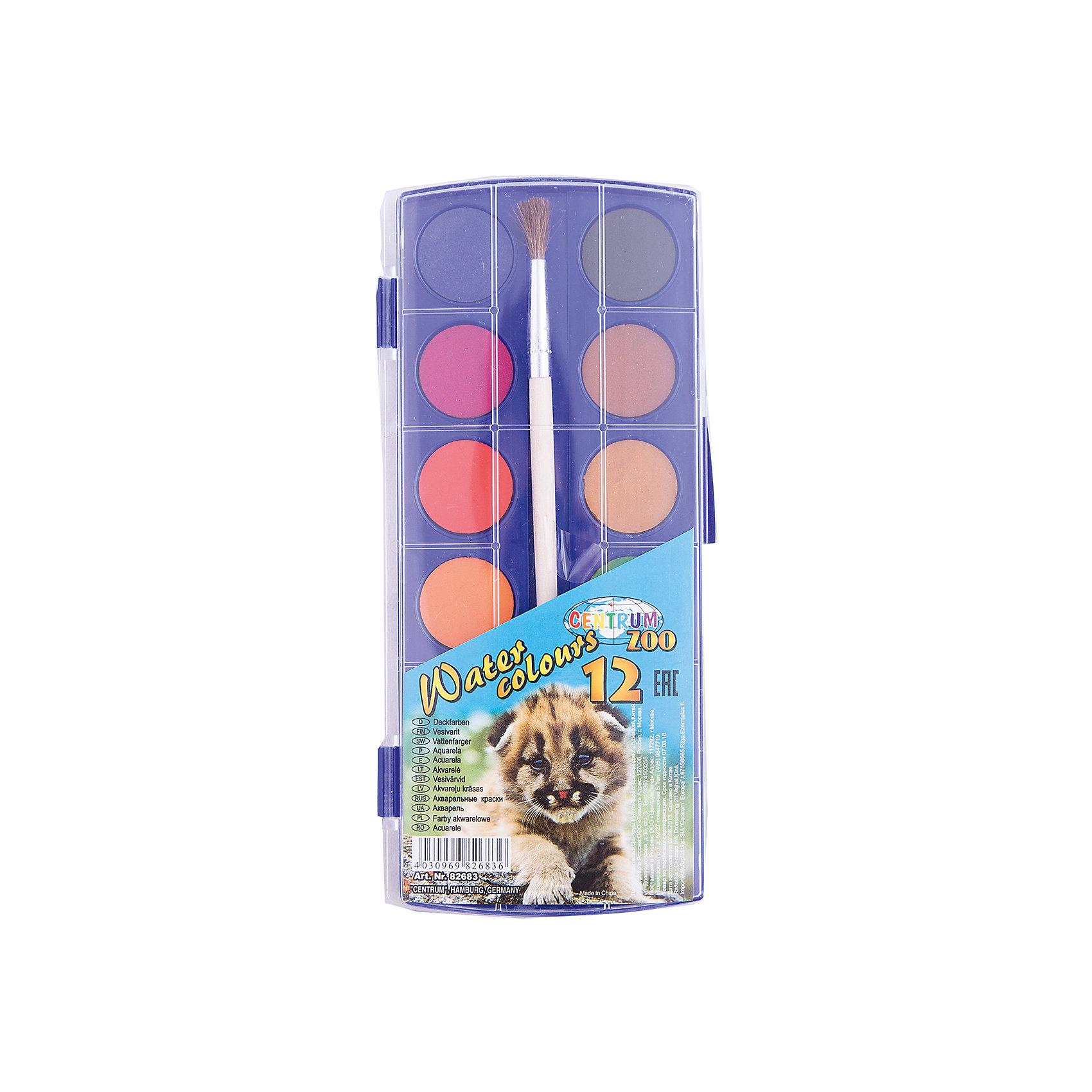 Краски акварельные сухие, 12 цветовРисование и лепка<br>Краски акварельные сухие, 12 цветов<br><br>Характеристики:<br><br>- в набор входит: краски, кисть<br>- размер упаковки: 9 * 1 * 30 см.<br>- для детей в возрасте: от 3 до 12 лет<br>- страна производитель: Китай<br><br>Целый набор ярких акварельных красок из коллекции «Зоопарк» от немецкого бренда Centrum (Центрум) понравится как девочкам, так и мальчикам! Классические двенадцать цветов, которые можно смешивать между собой позволят выполнить любой шедевр. Специальная формула красок хорошо отмывается от одежды и в тоже время позволяет цветам быть насыщенными на альбомном листе. Оттенки этих сухих красок более спокойные, чем у медовой акварели. Удобная кисточка выполнена из натурального волоса. Работая с краскам дети развивают творческие способности, аккуратность, моторику рук, усидчивость, восприятие цвета и логику смешивания цветов, выражают свой внутренний мир в рисунках. <br><br>Краски акварельные сухие, 12 цветов можно купить в нашем интернет-магазине.<br><br>Ширина мм: 300<br>Глубина мм: 90<br>Высота мм: 10<br>Вес г: 120<br>Возраст от месяцев: 36<br>Возраст до месяцев: 120<br>Пол: Унисекс<br>Возраст: Детский<br>SKU: 5175463