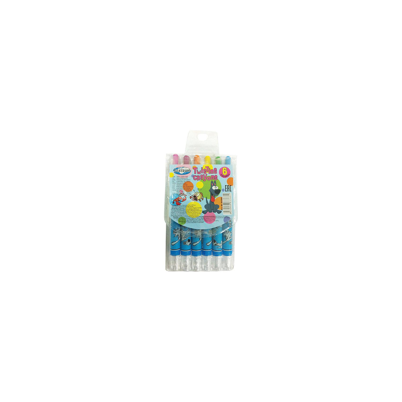 CENTRUM Мелки восковые выдвижные Twist, 6 цветов мелки centrum мелки пастельные масляные 6 цветов