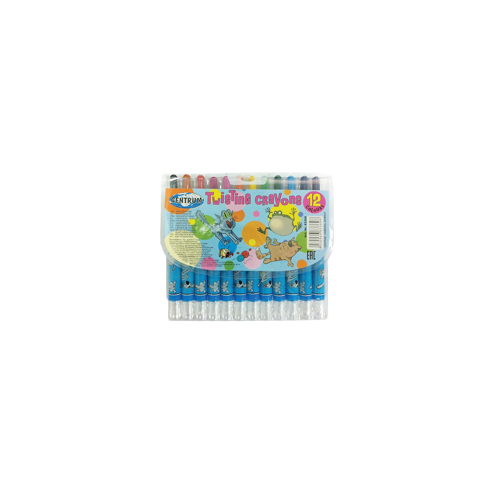 CENTRUM Мелки восковые выдвижные Twist, 12 цветов мелки centrum мелки пастельные масляные 6 цветов