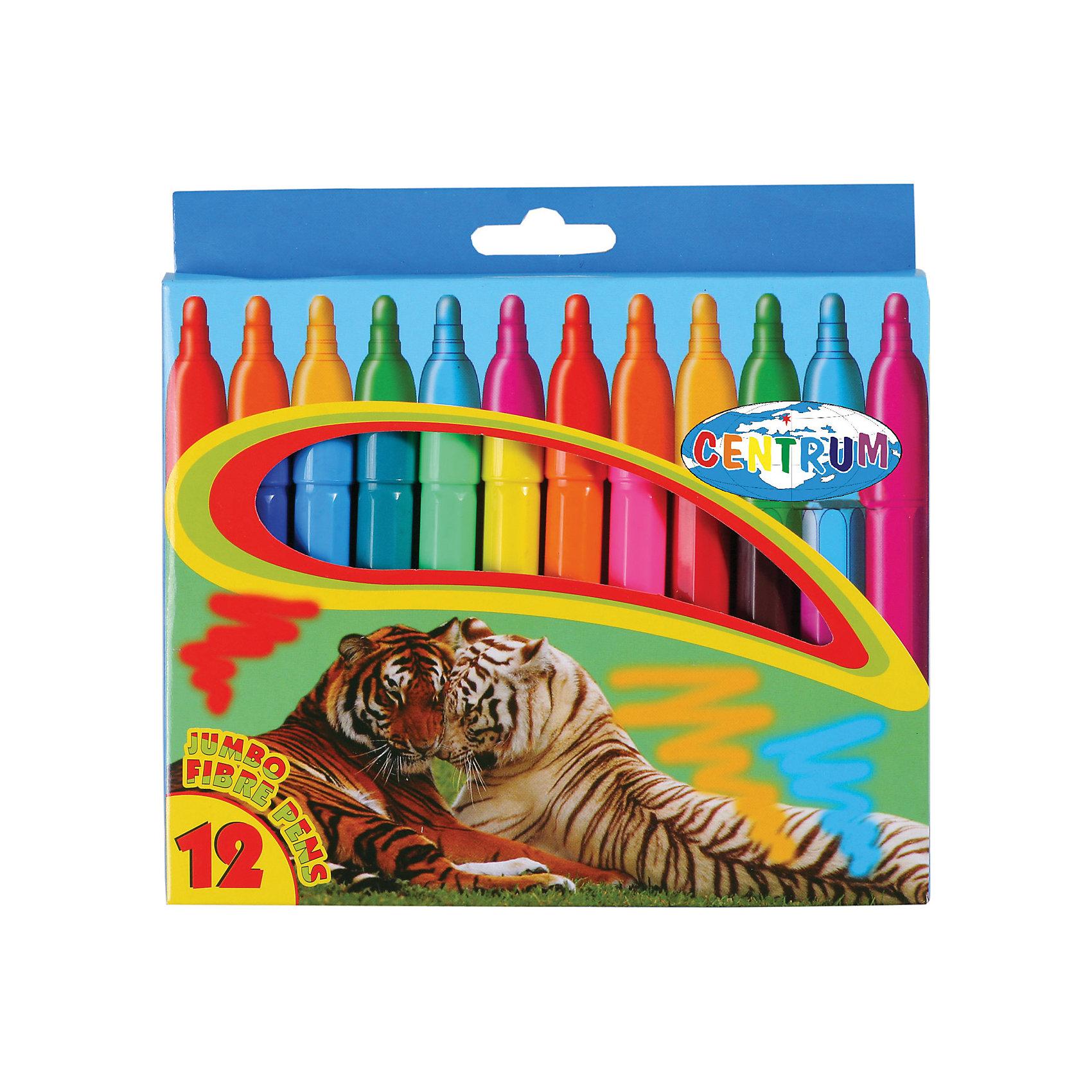 Фломастеры JUMBO, 12 цветовФломастеры<br>Фломастеры JUMBO, 12 цветов<br><br>Характеристики:<br><br>- в набор входит: 12 фломастеров<br>- состав: пластик, краска<br>- длина фломастера: 13,5 см.; диаметр: 1,2 см.<br>- размер упаковки: 18,5 * 2 * 20 см.<br>- вес: 160 г.<br>- для детей в возрасте: от 3 до 6 лет<br>- страна производитель: Китай<br><br>Набор крупных ярких фломастеров на водной основе от немецкого бренда Centrum (Центрум) придет по вкусу начинающим художникам. Яркие рисунки на упаковке вдохновляют на новые шедевры. Рисунок фломастерами ложится на бумагу, картон, дерево. Яркие и насыщенные линии сделают рисунок неповторимым. Кроме рисования, фломастеры отлично подойдут для графического оформления. Пластиковый корпус фломастеров с вентилируемым колпачком удобно ложится в руку. Набор включает классические двенадцать цветов, открывая просторы для творчества. Рисуя фломастерами дети развивают творческие способности, аккуратность, моторику рук, усидчивость, восприятие цвета и выражают свой внутренний мир в рисунках. <br><br>Фломастеры JUMBO, 12 цветов можно купить в нашем интернет-магазине.<br><br>Ширина мм: 185<br>Глубина мм: 170<br>Высота мм: 20<br>Вес г: 167<br>Возраст от месяцев: 36<br>Возраст до месяцев: 120<br>Пол: Унисекс<br>Возраст: Детский<br>SKU: 5175476