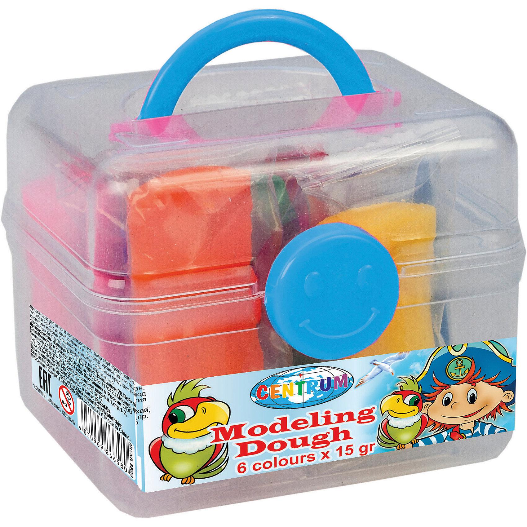 Тесто для лепки Пираты 6 цветов * 15 гЛепка<br>Тесто для лепки Пираты 6 цветов * 15 г<br><br>Характеристики:<br><br>- в набор входит: чемоданчик, 6 цветов теста по 15 гр.<br>- состав: пластик, тесто: вода, мука, масло. <br>- формат: 9 * 7,5 * 7 см.<br>- вес: 150 гр.<br>- для детей в возрасте: от 3 до 7 лет<br>- Страна производитель: Китай<br><br>Тесто для лепки в удобном чемоданчике «Пираты» придет по вкусу малышам и родителям. Компания Centrum (Центрум) специализируется на товарах для тесткого творчества и развития. Безопасный состав теста нетоксичен и безопасен для детей. Веселый пират и яркие попугаи на чемоданчике понравятся мальчикам. Яркие шесть цветов теста можно смешивать между собой и получать новые оттенки, что понравится юным творцам. После игры тесто можно хранить в практичном пластиковом чемоданчике из комплекта. Работа с тестом для лепки разрабатывает моторику рук, творческие способности, успокаивает, помогает развить аккуратность и внимание. <br><br>Тесто для лепки Пираты 6 цветов * 15 г можно купить в нашем интернет-магазине.<br><br>Ширина мм: 75<br>Глубина мм: 90<br>Высота мм: 70<br>Вес г: 150<br>Возраст от месяцев: 36<br>Возраст до месяцев: 120<br>Пол: Унисекс<br>Возраст: Детский<br>SKU: 5175486