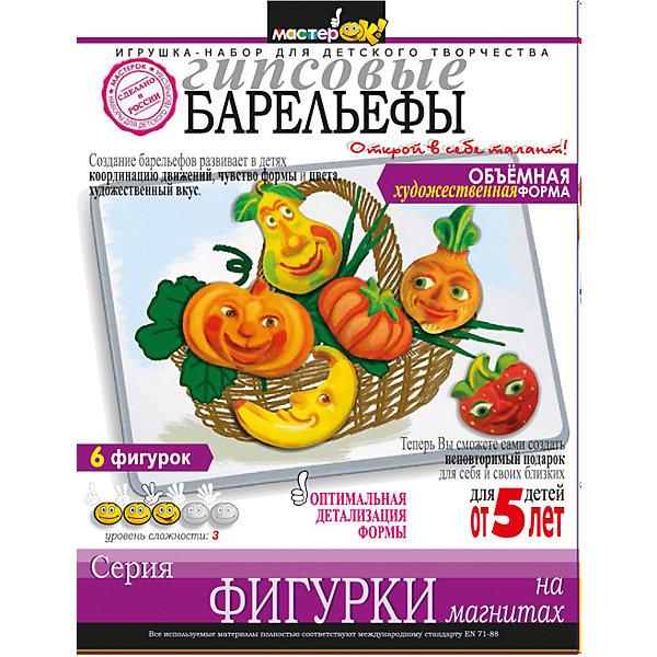 Набор Фигурки на магнитах ОвощиНаборы из гипса<br>Набор Фигурки на магнитах Овощи<br><br>Характеристики:<br><br>- в набор входит: гипс, магнитная лента, форма, кисть, краски <br>- состав: гипс, пластик<br>- формат: 17 * 5 * 22 см.<br>- для детей в возрасте: от 5 до 10 лет<br>- страна производитель: Российская Федерация<br><br>Набор для творчества Овощи от российского бренда МастерОК понравится маленьким пальчиками и создаст приятное веселое настроение. Пошаговая инструкция подробно описывает процесс выполнения поделки. Пакет с гипсом разводится в воде, затем помещается в форму из набора, сверху добавляется магнитик и фигурки оставляют высыхать. После того, как гипс затвердеет можно приступить к раскрашиванию специальными красками. Работая с таким набором ребенок развивает моторику рук, воображение, усидчивость, аккуратность и внимание. Выполнение фигурок не занимает очень много времени, поэтому ребенок сможет сделать свой небольшой шедевр и порадоваться своим результатам. Фигурки можно использовать как красивый подарок на память.<br><br>Набор Фигурки на магнитах Овощи можно купить в нашем интернет-магазине.<br><br>Ширина мм: 50<br>Глубина мм: 170<br>Высота мм: 220<br>Вес г: 350<br>Возраст от месяцев: 36<br>Возраст до месяцев: 120<br>Пол: Унисекс<br>Возраст: Детский<br>SKU: 5175489