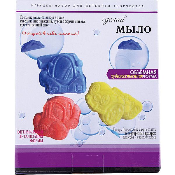 Набор Сделай мыло МашинкиНаборы для создания мыла<br>Набор Сделай мыло Машинки<br><br>Характеристики:<br><br>- в набор входит: мыльная основа (три цвета по 25гр.), форма для мыла<br>- состав: мыло, пластик<br>- размер упаковки: 22,5 * 5 * 18,5 см.<br>- для детей в возрасте: от 3 до 7 лет<br>- страна производитель: Российская Федерация<br><br>Новый увлекательный набор для творчества Сделай мыло Машинки от немецкого бренда Centrum (Центрум) специализирующегося  на товарах для детского творчества и развития понравится маленьким любителям автомобилей. Пошаговая инструкция подробно описывает процесс выполнения мыла. Яркие и объемные машинки будут гордо смотреться в ванной комнате или на полке, ведь ребенок сделал их сам. Сам процесс создания мыла очень увлекателен, и, на удивление, прост, поэтому ребенок сможет самостоятельно сделать свой небольшой шедевр и порадоваться результатам. Мыло  можно также использовать как красивый подарок на память. Работая с таким набором ребенок развивает моторику рук, творческие способности, восприятие форм и аккуратность.<br><br>Набор Сделай мыло Машинки можно купить в нашем интернет-магазине.<br>Ширина мм: 50; Глубина мм: 185; Высота мм: 225; Вес г: 75; Возраст от месяцев: 36; Возраст до месяцев: 120; Пол: Мужской; Возраст: Детский; SKU: 5175493;