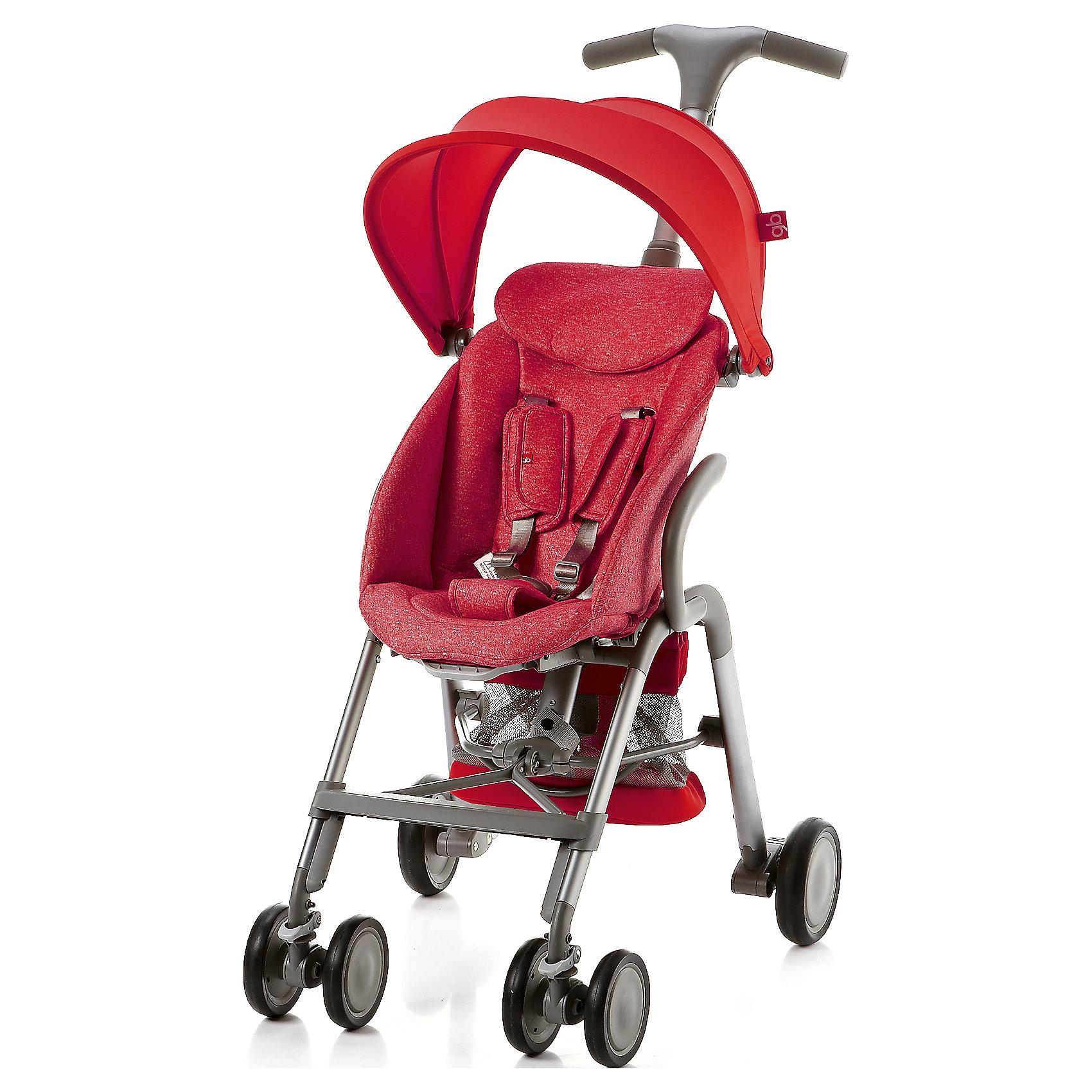 Прогулочная коляска GB T-BAR D330J, красныйПрогулочные коляски<br>Коляска прогулочная T-BAR D330J, GB, красный<br><br>Характеристики:<br><br>- в набор входит: коляска, козырек <br>- материал: алюминий, текстиль, пластик<br>- колеса: EVA-резина и полиуретан<br>- размер разложенной коляски: 53 * 91 * 105 см.<br>- размер в сложенном виде: 53 * 40 * 91 см.<br>- вес коляски: 7,6 кг.<br><br>Надежная коляска от известного международного европейского бренда товаров для детей GB (ДжиБи) сделает прогулку с малышом комфортным приключением. Стильный дизайн и качественное исполнение позволят коляске прослужить много лет. Т-образная ручка обеспечивает наибольшую маневренность в городе и ее высота регулируется в три положения. Стильный козырек закрывает малыша от яркого солнца и удобно регулируется, давая возможность полностью закрыть малыша спереди. Спинка сидения регулируется в два положения, в которых малыш сможет немного отдохнуть, а мягкий регулирующийся подголовник добавит малышу комфорта. Прочные бесшумные двойные передние колеса поворачиваются (можно зафиксировать), задние колеса оснащены амортизацией, такое сочетание позволяет осуществить наибольшую проходимость и устойчивость коляски. Для удобства хранения и перемещения коляска легко складывается по принципу «книжка». Безопасность малыша обеспечивает пятиточечный ремень с мягкими накладками. Небольшая корзина коляски легка в доступе и позволит взять с собой самое необходимое на прогулку. С этой легкой и компактной коляской вы будете чувствовать себя уверенно как на прогулке, так и в магазине.<br><br>Коляску прогулочную T-BAR D330J, красный, GB (ДжиБи) можно купить в нашем интернет-магазине.<br><br>Ширина мм: 900<br>Глубина мм: 500<br>Высота мм: 300<br>Вес г: 9000<br>Возраст от месяцев: 6<br>Возраст до месяцев: 36<br>Пол: Унисекс<br>Возраст: Детский<br>SKU: 5176046