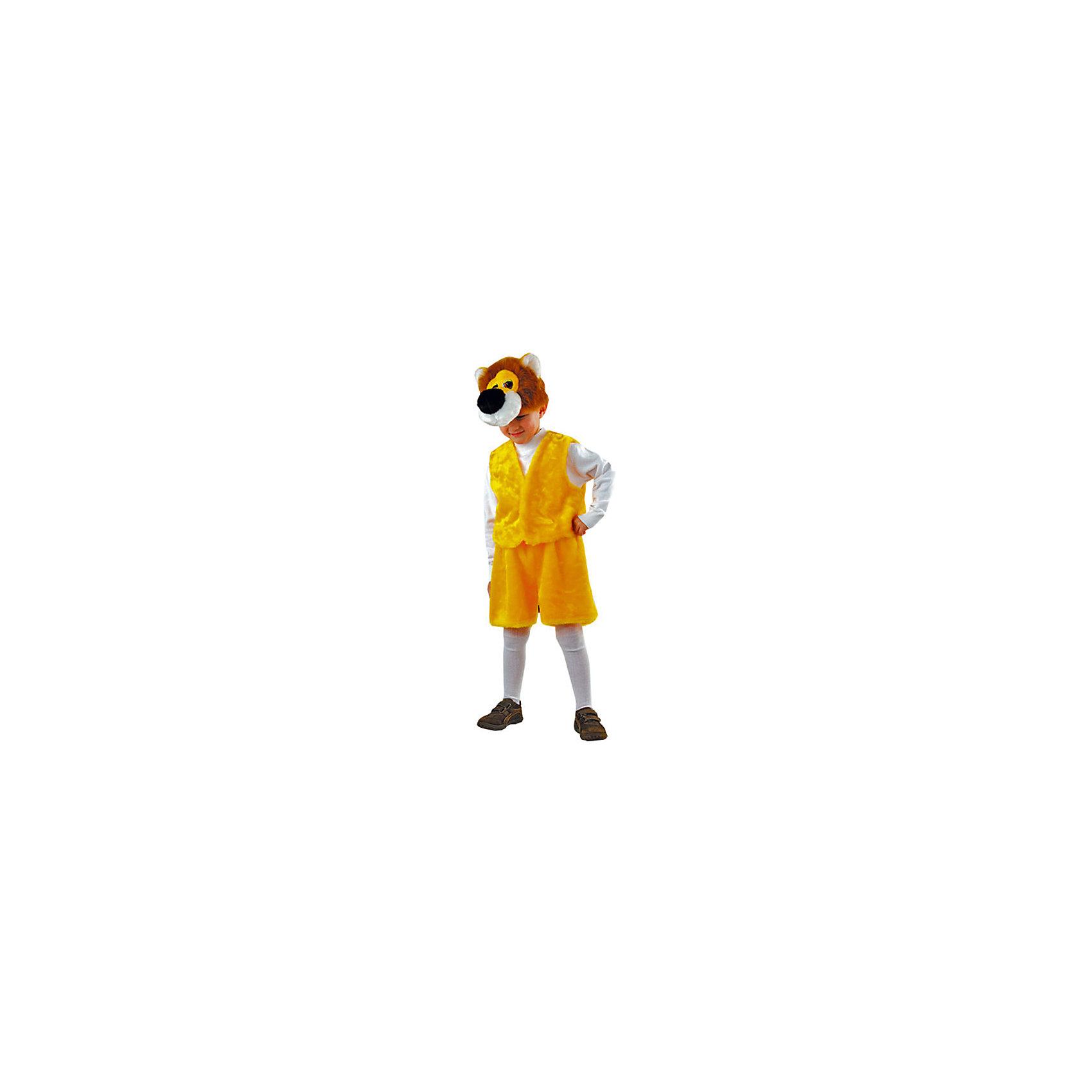 Костюм ЛевДля мальчиков<br>Характеристики товара:<br><br>• цвет: желтый<br>• комплектация: головной убор, жилет<br>• материал: текстиль, полиэстер, пластик<br>• размер упаковки: 35х10х47 см<br>• упаковка: пакет<br>• возраст: от 3 лет<br>• страна бренда: Российская Федерация<br>• страна изготовитель: Российская Федерация<br><br>Новогодние праздники - отличная возможность перевоплотиться в кого угодно, надев маскарадный костюм. Этот набор позволит ребенку мгновенно превратиться в симпатичного льва!<br>Он состоит из двух предметов, которые подойдут дошкольникам и младшим школьникам - размер универсален. Изделия удобно сидят и позволяют ребенку наслаждаться праздником или принимать участие в постановке. Модель хорошо проработана, сшита из качественных и проверенных материалов, которые безопасны для детей.<br><br>Костюм Лев можно купить в нашем интернет-магазине.<br><br>Ширина мм: 350<br>Глубина мм: 470<br>Высота мм: 100<br>Вес г: 170<br>Возраст от месяцев: 36<br>Возраст до месяцев: 96<br>Пол: Мужской<br>Возраст: Детский<br>SKU: 5177194
