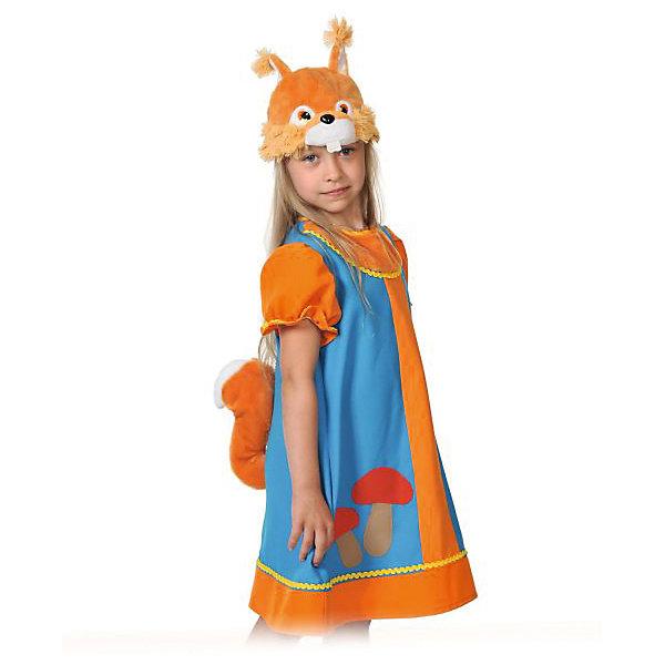 Костюм Белочка Умелочка, рост 98-128, КарнавалоффКарнавальные костюмы для девочек<br>Характеристики товара:<br><br>• цвет: голубой/оранжевый<br>• комплектация: шапочка, платье<br>• материал: текстиль, плюш<br>• для праздников и постановок<br>• упаковка: пакет<br>• возраст: от 3 лет<br>• страна бренда: Российская Федерация<br>• страна изготовитель: Российская Федерация<br><br>Новогодние праздники - отличная возможность перевоплотиться в кого угодно, надев маскарадный костюм. Этот набор позволит ребенку мгновенно превратиться в симпатичную белочку!<br>Он состоит из двух предметов, которые подойдут дошкольникам и младшим школьникам - костюм рассчитан на рост от 100 см до 125 см. Изделия удобно сидят и позволяют ребенку наслаждаться праздником или принимать участие в постановке. Модель хорошо проработана, сшита из качественных и проверенных материалов, которые безопасны для детей.<br><br>Костюм Белочка Умелочка, рост 100-125, от бренда Карнавалофф можно купить в нашем интернет-магазине.<br><br>Ширина мм: 270<br>Глубина мм: 300<br>Высота мм: 70<br>Вес г: 142<br>Возраст от месяцев: 60<br>Возраст до месяцев: 120<br>Пол: Женский<br>Возраст: Детский<br>SKU: 5177197