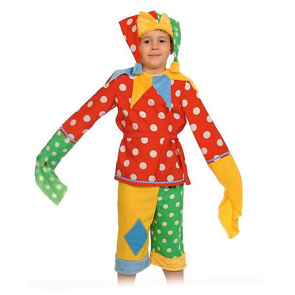 Костюм Шут Гороховый, рост 98-128, КарнавалоффКарнавальные костюмы для мальчиков<br>Характеристики товара:<br><br>• комплектация: шапка, рубашка, шорты.<br>• материал: текстиль<br>• для праздников и постановок<br>• упаковка: пакет<br>• возраст: от 4 лет<br>• страна бренда: Российская Федерация<br>• страна изготовитель: Российская Федерация<br><br>Новогодние праздники - отличная возможность перевоплотиться в кого угодно, надев маскарадный костюм. Этот набор позволит ребенку мгновенно превратиться в Петрушку!<br>Он состоит из трех предметов, которые подойдут дошкольникам и младшим школьникам - костюм рассчитан на рост от 100 см до 125 см. Изделия удобно сидят и позволяют ребенку наслаждаться праздником или принимать участие в постановке. Модель хорошо проработана, сшита из качественных и проверенных материалов, которые безопасны для детей.<br><br>Костюм Шут Гороховый, рост 100-125, от бренда Карнавалофф можно купить в нашем интернет-магазине.<br><br>Ширина мм: 280<br>Глубина мм: 300<br>Высота мм: 80<br>Вес г: 350<br>Возраст от месяцев: 60<br>Возраст до месяцев: 120<br>Пол: Мужской<br>Возраст: Детский<br>SKU: 5177201
