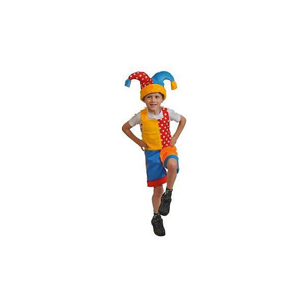 Костюм Скоморох, рост 100-125, КарнавалоффКарнавальные костюмы для мальчиков<br>Характеристики товара:<br><br>• комплектация: шапка, полукомбинезон<br>• материал: текстиль, плюш<br>• для праздников и постановок<br>• упаковка: пакет<br>• возраст: от 4 лет<br>• страна бренда: Российская Федерация<br>• страна изготовитель: Российская Федерация<br><br>Новогодние праздники - отличная возможность перевоплотиться в кого угодно, надев маскарадный костюм. Этот набор позволит ребенку мгновенно превратиться в скомороха<br>Он состоит из двух предметов, которые подойдут дошкольникам и младшим школьникам - костюм рассчитан на рост от 100 см до 125 см. Изделия удобно сидят и позволяют ребенку наслаждаться праздником или принимать участие в постановке. Модель хорошо проработана, сшита из качественных и проверенных материалов, которые безопасны для детей.<br><br>Костюм Скоморох, рост 100-125, от бренда Карнавалофф можно купить в нашем интернет-магазине.<br><br>Ширина мм: 280<br>Глубина мм: 300<br>Высота мм: 80<br>Вес г: 255<br>Возраст от месяцев: 60<br>Возраст до месяцев: 120<br>Пол: Мужской<br>Возраст: Детский<br>SKU: 5177205
