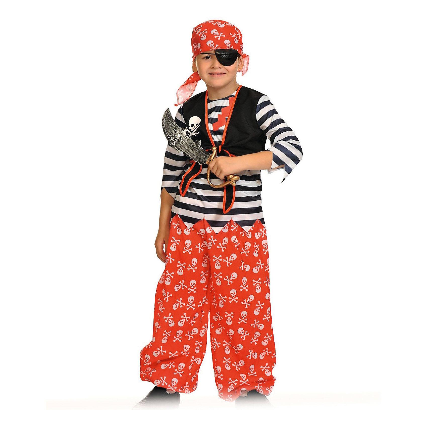 Костюм Пират Роджер, рост 128-134, КарнавалоффКарнавальные костюмы и аксессуары<br>Характеристики товара:<br><br>• комплектация: тельняшка с жилетом, шаровары, бандана, повязка на глаз, сабля<br>• материал: текстиль, пластик<br>• для праздников и постановок<br>• упаковка: пакет<br>• рост: 128-134 см<br>• возраст: от 6 лет<br>• страна бренда: Российская Федерация<br>• страна изготовитель: Российская Федерация<br><br>Новогодние праздники - отличная возможность перевоплотиться в кого угодно, надев маскарадный костюм. Этот набор позволит ребенку мгновенно превратиться в пирата!<br>Он состоит из нескольких предметов, которые подойдут младшим школьникам - костюм рассчитан на рост от 128 см до 134 см. Изделия удобно сидят и позволяют ребенку наслаждаться праздником или принимать участие в постановке. Модель хорошо проработана, сшита из качественных и проверенных материалов, которые безопасны для детей.<br><br>Костюм Пират Роджер, рост 128-134, от бренда Карнавалофф можно купить в нашем интернет-магазине.<br><br>Ширина мм: 370<br>Глубина мм: 30<br>Высота мм: 420<br>Вес г: 380<br>Возраст от месяцев: 60<br>Возраст до месяцев: 120<br>Пол: Мужской<br>Возраст: Детский<br>SKU: 5177217