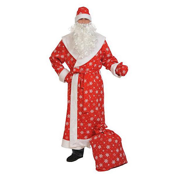 Костюм Дед мороз, размер XL 56-58/188, КарнавалоффВсё для новогоднего карнавала<br>Характеристики товара:<br><br>• цвет: красный<br>• комплектация: шуба, шапка, варежки, мешок, борода, пояс<br>• материал: текстиль, плюш<br>• для праздников и постановок<br>• упаковка: пакет<br>• размер: XL 56-58/188<br>• размер упаковки: 45 x 45 x 8 см<br>• страна бренда: Российская Федерация<br>• страна изготовитель: Российская Федерация<br><br>Новогодние праздники в России невозможны без Деда Мороза. Легко перевоплотиться в него можно, надев маскарадный костюм. Этот набор состоит из привычных предметов, в него входят шуба, шапка, варежки, мешок, борода, пояс.<br>Костюм - большого размера, поэтому подойдёт многим. Изделия удобно сидят и позволяют активно принимать участие в постановке или празднике. Модель хорошо проработана, сшита из качественных и проверенных материалов, которые безопасны для детей.<br><br>Костюм Дед мороз, размер XL 56-58/188, от бренда Карнавалофф можно купить в нашем интернет-магазине.<br><br>Ширина мм: 280<br>Глубина мм: 450<br>Высота мм: 100<br>Вес г: 1250<br>Возраст от месяцев: 60<br>Возраст до месяцев: 120<br>Пол: Мужской<br>Возраст: Детский<br>SKU: 5177218
