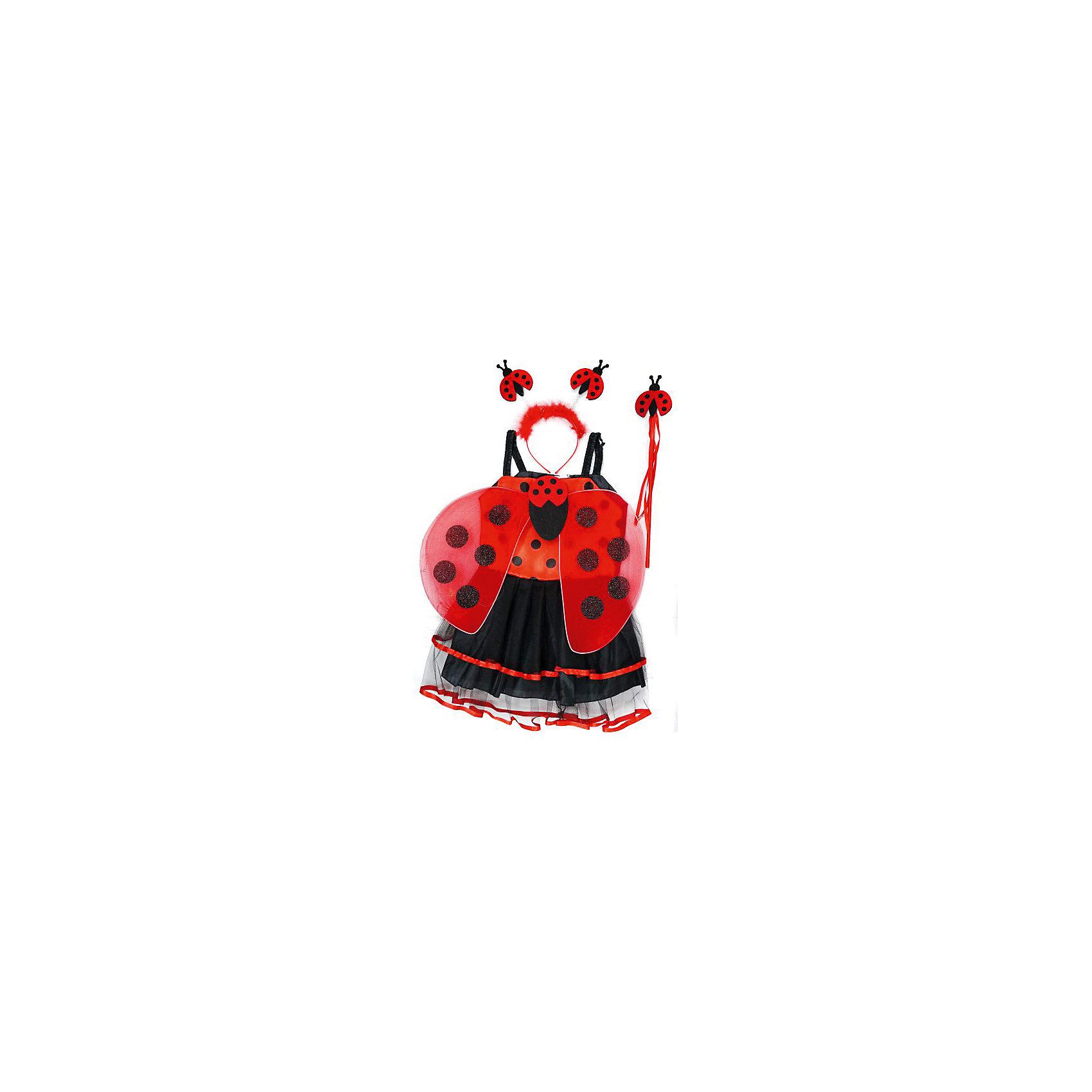 Костюм Божья коровка, 55 см, Новогодняя сказкаХарактеристики товара:<br><br>• цвет: красный/черный<br>• комплектация: платье, крылья, ободок, палочка<br>• материал: текстиль, пластик<br>• для праздников и постановок<br>• упаковка: пакет<br>• длина платья: 55 см<br>• возраст: от 3 лет<br>• страна бренда: Российская Федерация<br>• страна изготовитель: Российская Федерация<br><br>Новогодние праздники - отличная возможность перевоплотиться в кого угодно, надев маскарадный костюм. Этот набор позволит ребенку мгновенно превратиться в Божью коровку!<br>Он состоит из нескольких предметов, которые подойдут дошкольникам. Изделия удобно сидят и позволяют ребенку наслаждаться праздником или принимать участие в постановке. Модель хорошо проработана, сшита из качественных и проверенных материалов, которые безопасны для детей.<br><br>Костюм Божья коровка, 55 см, от бренда Новогодняя сказка можно купить в нашем интернет-магазине.<br><br>Ширина мм: 550<br>Глубина мм: 30<br>Высота мм: 350<br>Вес г: 197<br>Возраст от месяцев: 36<br>Возраст до месяцев: 96<br>Пол: Женский<br>Возраст: Детский<br>SKU: 5177220