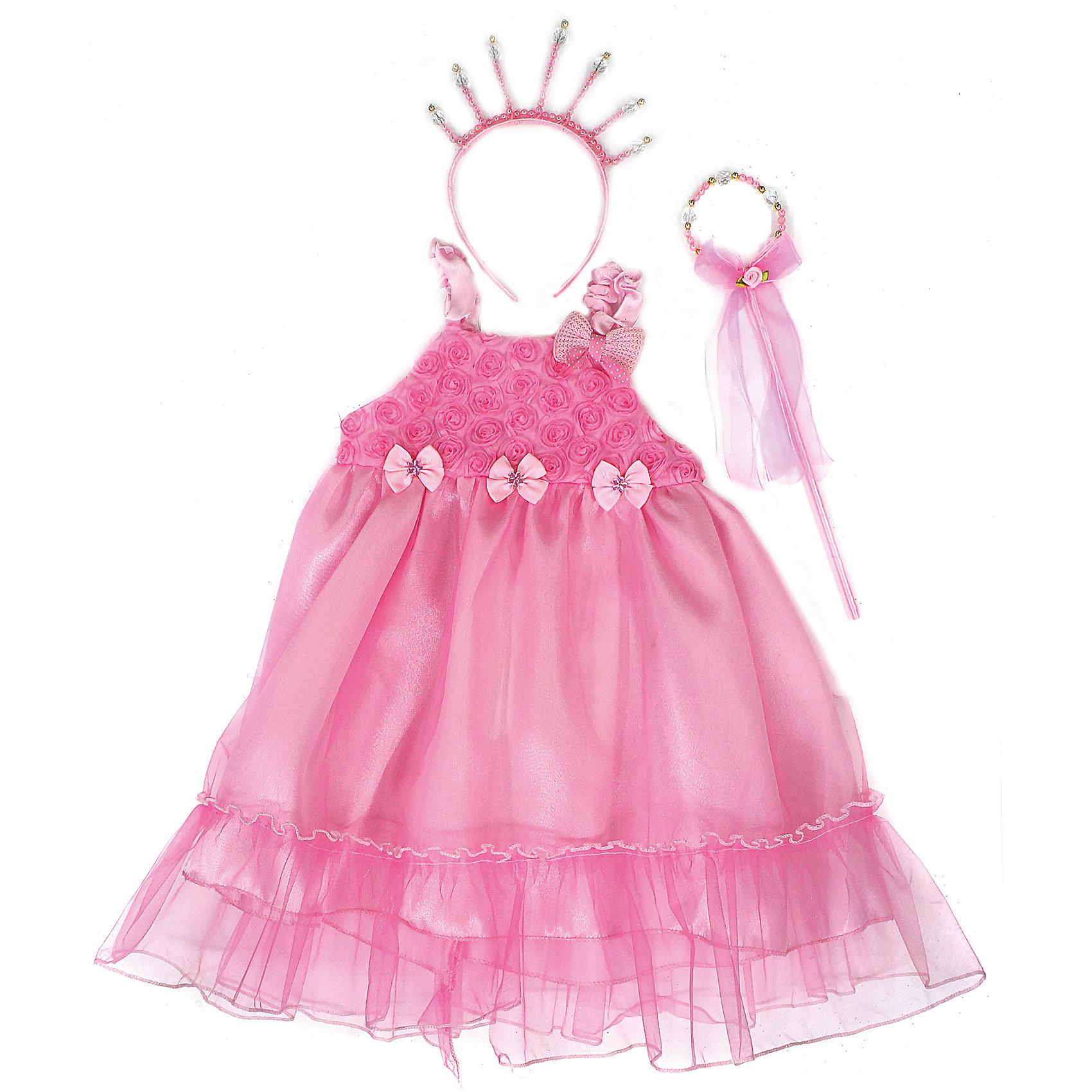 Костюм Принцесса, Новогодняя сказкаКарнавальные костюмы и аксессуары<br>Характеристики товара:<br><br>• цвет: розовый<br>• комплектация: платье, ободок, волшебная палочка<br>• материал: текстиль, пластик<br>• для праздников и постановок<br>• упаковка: пакет<br>• длина платья: 56 см<br>• возраст: от 3 лет<br>• страна бренда: Российская Федерация<br>• страна изготовитель: Российская Федерация<br><br>Новогодние праздники - отличная возможность перевоплотиться в кого угодно, надев маскарадный костюм. Этот набор позволит ребенку мгновенно превратиться в принцессу!<br>Он состоит из нескольких предметов, которые подойдут дошкольникам. Изделия удобно сидят и позволяют ребенку наслаждаться праздником или принимать участие в постановке. Модель хорошо проработана, сшита из качественных и проверенных материалов, которые безопасны для детей.<br><br>Костюм Принцесса от бренда Новогодняя сказка можно купить в нашем интернет-магазине.<br><br>Ширина мм: 420<br>Глубина мм: 30<br>Высота мм: 450<br>Вес г: 200<br>Возраст от месяцев: 36<br>Возраст до месяцев: 96<br>Пол: Женский<br>Возраст: Детский<br>SKU: 5177221
