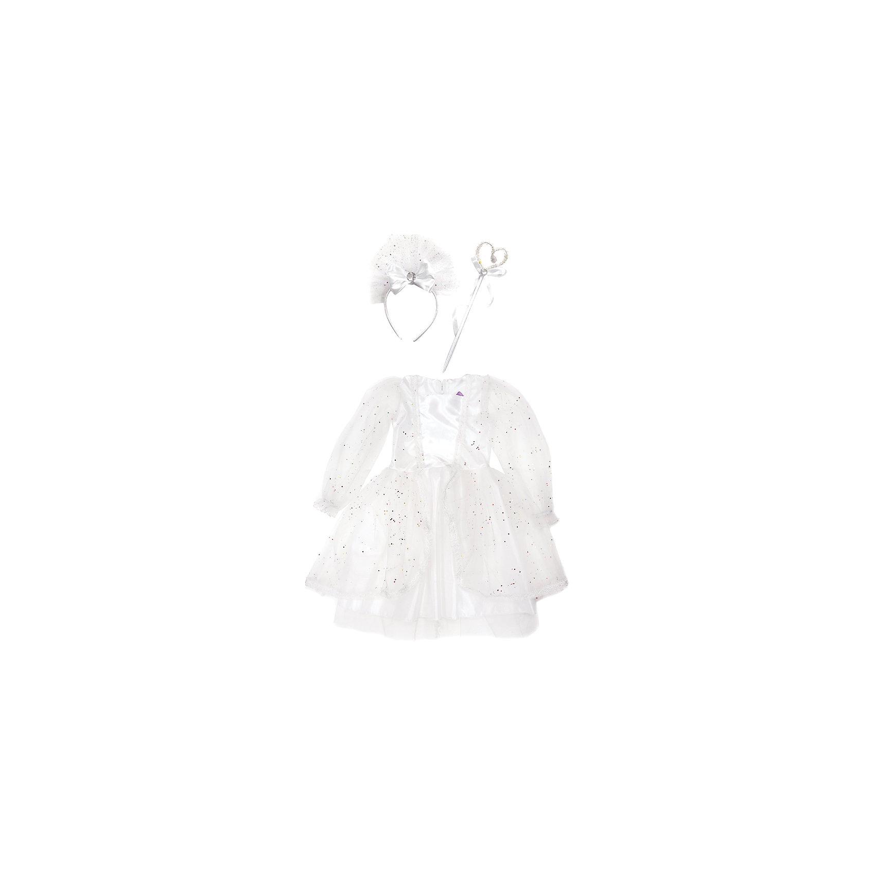 Костюм Снежная королева, 70 см, Новогодняя сказкаКарнавальные костюмы и аксессуары<br>Характеристики товара:<br><br>• цвет: белый<br>• комплектация: платье, ободок, палочка<br>• материал: текстиль, пластик<br>• для праздников и постановок<br>• упаковка: пакет<br>• длина платья: 70 см<br>• возраст: от 3 лет<br>• страна бренда: Российская Федерация<br>• страна изготовитель: Российская Федерация<br><br>Новогодние праздники - отличная возможность перевоплотиться в кого угодно, надев маскарадный костюм. Этот набор позволит ребенку мгновенно превратиться в Снежную королеву!<br>Он состоит из нескольких предметов, которые подойдут дошкольникам. Изделия удобно сидят и позволяют ребенку наслаждаться праздником или принимать участие в постановке. Модель хорошо проработана, сшита из качественных и проверенных материалов, которые безопасны для детей.<br><br>Костюм Снежная королева, 70 см, от бренда Новогодняя сказка можно купить в нашем интернет-магазине.<br><br>Ширина мм: 455<br>Глубина мм: 690<br>Высота мм: 30<br>Вес г: 200<br>Возраст от месяцев: 60<br>Возраст до месяцев: 120<br>Пол: Женский<br>Возраст: Детский<br>SKU: 5177230