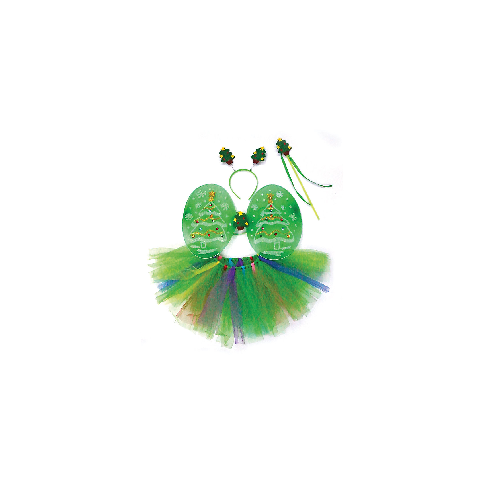 Костюм Елочки, Новогодняя сказкаКарнавальные костюмы и аксессуары<br>Характеристики товара:<br><br>• цвет: зеленый<br>• комплектация: крылья, юбка, ободок, палочка<br>• материал: текстиль, пластик<br>• для праздников и постановок<br>• упаковка: пакет<br>• размер крыльев: 45х30 см<br>• длина юбки: 25 см<br>• возраст: от 3 лет<br>• страна бренда: Российская Федерация<br>• страна изготовитель: Российская Федерация<br><br>Новогодние праздники - отличная возможность перевоплотиться в кого угодно, надев маскарадный костюм. Этот набор позволит ребенку мгновенно превратиться в ёлочку!<br>Он состоит из нескольких предметов, которые подойдут дошкольникам. Изделия удобно сидят и позволяют ребенку наслаждаться праздником или принимать участие в постановке. Модель хорошо проработана, сшита из качественных и проверенных материалов, которые безопасны для детей.<br><br>Костюм Елочки от бренда Новогодняя сказка можно купить в нашем интернет-магазине.<br><br>Ширина мм: 480<br>Глубина мм: 530<br>Высота мм: 3<br>Вес г: 181<br>Возраст от месяцев: 36<br>Возраст до месяцев: 96<br>Пол: Женский<br>Возраст: Детский<br>SKU: 5177239