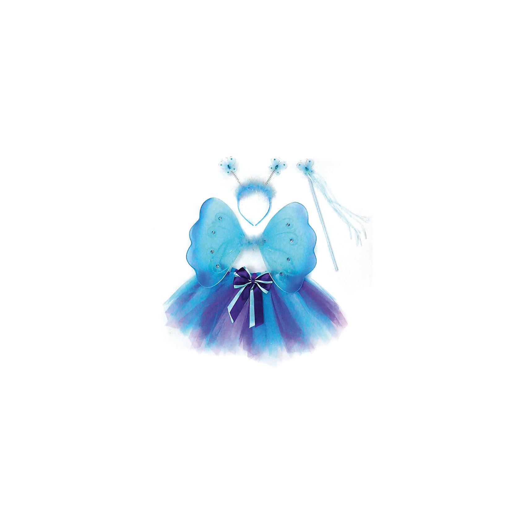 Костюм Бабочки, голубой, Новогодняя сказкаХарактеристики товара:<br><br>• цвет: голубой<br>• комплектация: крылья, юбка, венок, палочка<br>• материал: текстиль, пластик<br>• для праздников и постановок<br>• упаковка: пакет<br>• размер крыльев: 28х39 см<br>• длина юбки: 25 см<br>• возраст: от 3 лет<br>• страна бренда: Российская Федерация<br>• страна изготовитель: Российская Федерация<br><br>Новогодние праздники - отличная возможность перевоплотиться в кого угодно, надев маскарадный костюм. Этот набор позволит ребенку мгновенно превратиться в бабочку!<br>Он состоит из нескольких предметов, которые подойдут дошкольникам. Изделия удобно сидят и позволяют ребенку наслаждаться праздником или принимать участие в постановке. Модель хорошо проработана, сшита из качественных и проверенных материалов, которые безопасны для детей.<br><br>Костюм Бабочки, голубой, от бренда Новогодняя сказка можно купить в нашем интернет-магазине.<br><br>Ширина мм: 430<br>Глубина мм: 580<br>Высота мм: 30<br>Вес г: 174<br>Возраст от месяцев: 36<br>Возраст до месяцев: 96<br>Пол: Женский<br>Возраст: Детский<br>SKU: 5177241