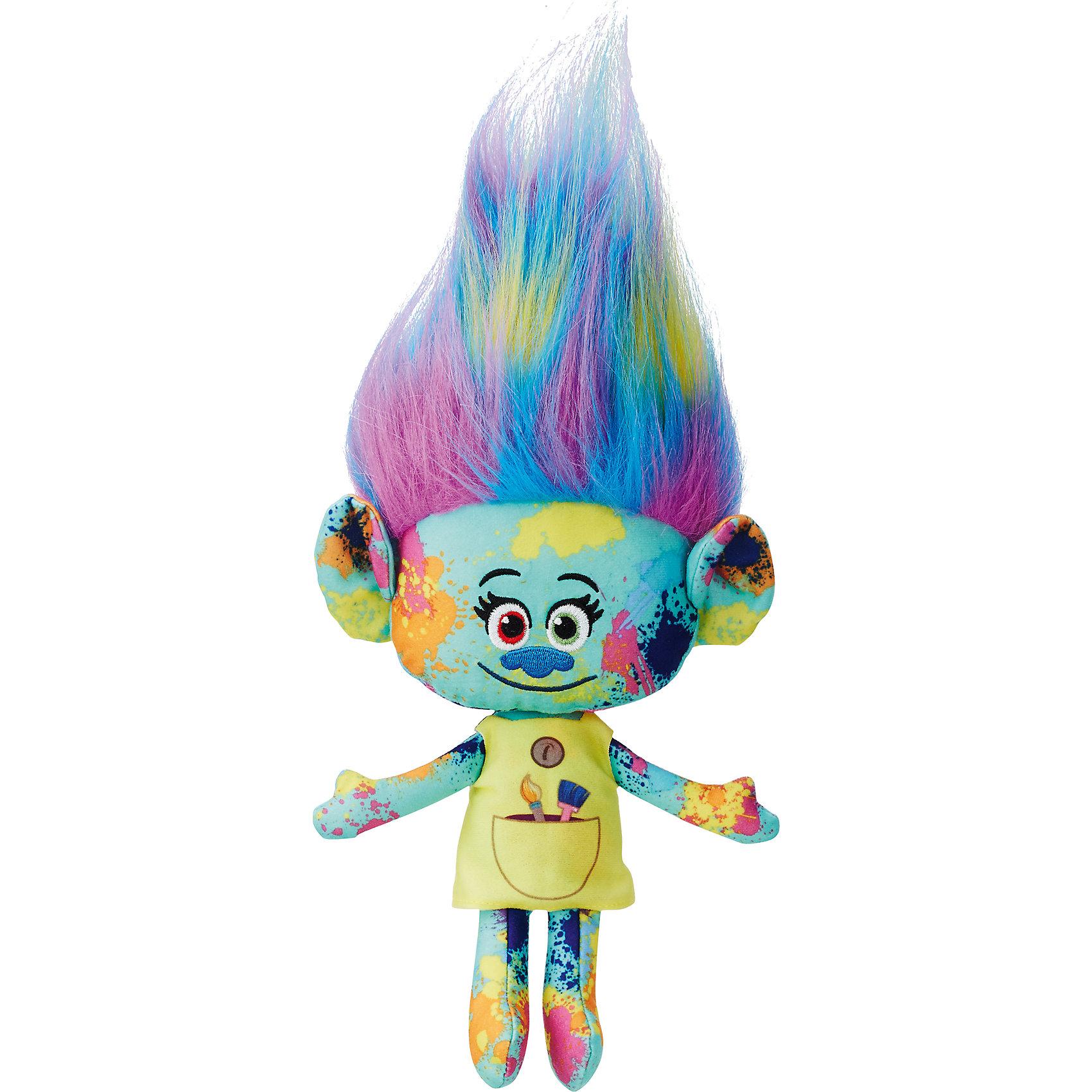 Мягкая игрушка Харпер, ТроллиТролли из плюша – Харпер-Пинсел.<br><br>Характеристики:<br><br>• Комплект: фигурка тролля.<br>• Материал: плюш.<br>• Размер игрушки – 28 см.<br><br>Тролли из плюша от торговой марки Hasbro созданы по мотивам известного мультипликационного фильма  Trolls.  Милые крошечные существа живут в чудесном мире танцев, песен и обнимашек. У них очаровательные мордашки с круглыми глазками и разноцветные яркие волосы. Тролль Харпер-Пинсел очень меленькая девочка. Кожа куклы бирюзового цвета полностью измазана разноцветными красками. Яркий желтый сарафан имеет большой нарисованный кармашек, в котором у Харпер-Пинсел хранятся две кисточки. На груди прорисована коричневая пуговка. Милые глаза куклы разных цветов – красного и зеленого. Маленький синий носик отлично сочетается с ее цветом кожи. Кукла имеет шикарные длинные волосы с желтыми, голубыми и розовыми прядями, которые подняты вверх. Игрушка выполнена из качественных материалов - текстиля и плюша. Собери всю коллекцию троллей!<br><br>Тролля из плюша – Харпер - Пинсел, можно купить в нашем интернет - магазине.<br><br>Ширина мм: 70<br>Глубина мм: 165<br>Высота мм: 356<br>Вес г: 268<br>Возраст от месяцев: 48<br>Возраст до месяцев: 96<br>Пол: Унисекс<br>Возраст: Детский<br>SKU: 5177816