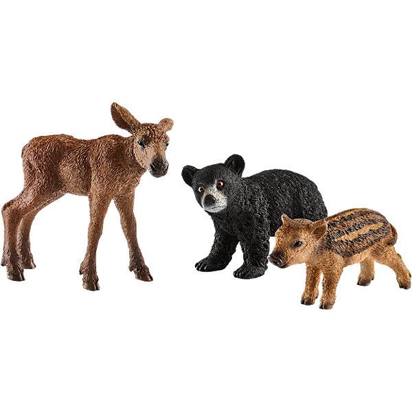 Детеныши лесных животныхМир животных<br>Характеристики:<br><br>• возраст: от 3 лет;<br>• материал: каучуковый пластик;<br>• в наборе: лось, кабан, медведь губач;<br>• размер упаковки: 18,7х5,2х16,5 см;<br>• подарочная упаковка;<br>• страна бренда: Германия.<br><br>Фигурки от бренда Schleich – детализированные копии детенышей лесных животных. Фигурки с точностью передают особенности строения тела животных, внешний вид шерсти, характерные позы.<br><br>В изготовлении каждой фигурки «Шляйх» учитываются рекомендации педагогики для того, чтобы игрушка была интересна и полезна ребенку, комфортно располагалась в руках. Фигурки раскрашены вручную, сделаны из прочных безопасных материалов, не вызывающих аллергию. Разработано при участии Берлинского зоопарка.<br><br>Фигурки подойдут для сюжетно-ролевых игр, а также могут стать частью большой коллекции реалистичных копий животных Schleich.<br><br>Набор Schleich Детеныши лесных животных можно купить в нашем интернет-магазине.<br>Ширина мм: 196; Глубина мм: 175; Высота мм: 55; Вес г: 151; Возраст от месяцев: 36; Возраст до месяцев: 96; Пол: Унисекс; Возраст: Детский; SKU: 5178082;