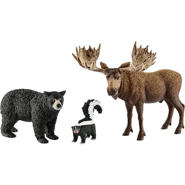 Коллекционный набор фигурок Schleich Дикие животные Жители лесов Северной АмерикиМир животных<br>Характеристики:<br><br>• возраст: от 3 лет;<br>• материал: каучуковый пластик;<br>• в наборе: лось, скунс, медведь губач;<br>• вес упаковки: 670 гр.;<br>• размер упаковки: 8,2х24,5х19 см;<br>• подарочная упаковка;<br>• страна бренда: Германия.<br><br>Фигурки от бренда Schleich – детализированные копии жителей лесов Северной Америки. Фигурки с точностью передают особенности строения тела животных, внешний вид шерсти, характерные позы.<br><br>В изготовлении каждой фигурки «Шляйх» учитываются рекомендации педагогики для того, чтобы игрушка была интересна и полезна ребенку, комфортно располагалась в руках. Фигурки раскрашены вручную, сделаны из прочных безопасных материалов, не вызывающих аллергию. Разработано при участии Берлинского зоопарка.<br><br>Фигурки подойдут для сюжетно-ролевых игр, а также могут стать частью большой коллекции реалистичных копий животных Schleich.<br><br>Набор Schleich Жители лесов Северной Америки можно купить в нашем интернет-магазине.<br>Ширина мм: 252; Глубина мм: 193; Высота мм: 86; Вес г: 343; Возраст от месяцев: 36; Возраст до месяцев: 96; Пол: Унисекс; Возраст: Детский; SKU: 5178083;