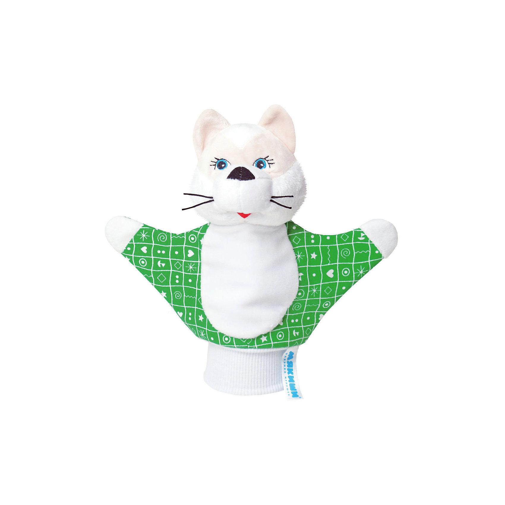 Игрушка-рукавичка Котенок, МякишиМягкие игрушки на руку<br>Характеристики товара:<br><br>• материал: трикотаж, велюр<br>• комплектация: 1 шт<br>• размер игрушки: 22х21 см<br>• размер упаковки: 22х21 см<br>• развивающая игрушка<br>• упаковка: пакет<br>• звуковой элемент внутри<br>• страна бренда: РФ<br>• страна изготовитель: РФ<br><br>Малыши активно познают мир и тянутся к новой информации. Чтобы сделать процесс изучения окружающего пространства интереснее, ребенку можно подарить развивающие игрушки. В процессе игры информация усваивается намного лучше!<br>Такие игрушки-рукавички помогут занять малыша, играть с ними приятно и весело. Игрушка имеет универсальный размер - она отлично сядет и по взрослой руке и по детской ручке. С ней можно разыграть множество сюжетов! Одновременно она позволит познакомиться с разными цветами и фактурами. Такие игрушки развивают тактильные ощущения, моторику, цветовосприятие, логику, воображение, учат фокусировать внимание. Каждое изделие абсолютно безопасно – оно создано из качественной ткани с мягким наполнителем. Игрушки производятся из качественных и проверенных материалов, которые безопасны для детей.<br><br>Игрушку-рукавичку Котенок от бренда Мякиши можно купить в нашем интернет-магазине.<br><br>Ширина мм: 200<br>Глубина мм: 80<br>Высота мм: 210<br>Вес г: 50<br>Возраст от месяцев: 12<br>Возраст до месяцев: 36<br>Пол: Унисекс<br>Возраст: Детский<br>SKU: 5183165