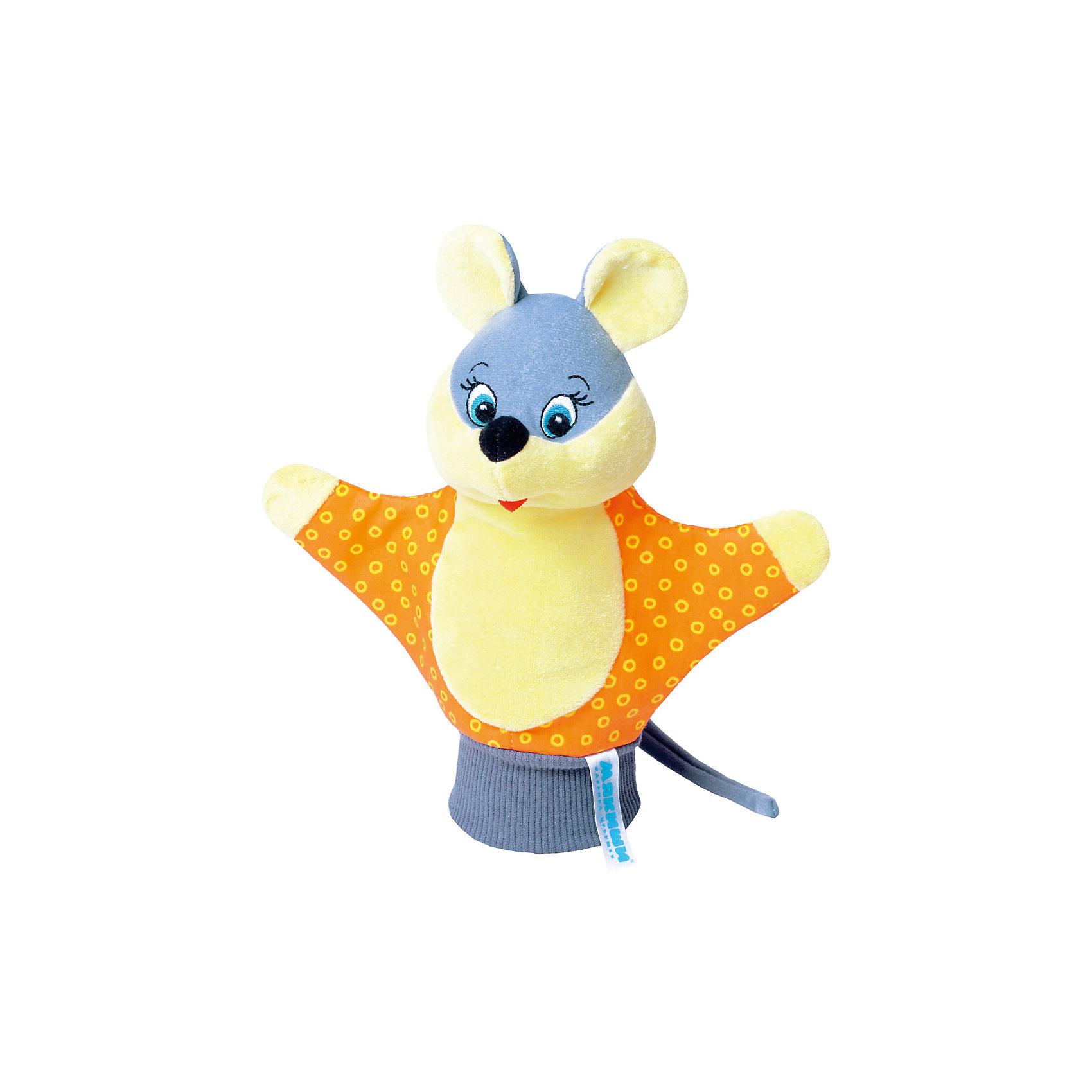 Игрушка-рукавичка Мышка, МякишиМягкие игрушки<br>Характеристики товара:<br><br>• материал: трикотаж, велюр<br>• комплектация: 1 шт<br>• размер игрушки: 22х21 см<br>• размер упаковки: 22х21 см<br>• развивающая игрушка<br>• упаковка: пакет<br>• звуковой элемент внутри<br>• страна бренда: РФ<br>• страна изготовитель: РФ<br><br>Малыши активно познают мир и тянутся к новой информации. Чтобы сделать процесс изучения окружающего пространства интереснее, ребенку можно подарить развивающие игрушки. В процессе игры информация усваивается намного лучше!<br>Такие игрушки-рукавички помогут занять малыша, играть с ними приятно и весело. Игрушка имеет универсальный размер - она отлично сядет и по взрослой руке и по детской ручке. С ней можно разыграть множество сюжетов! Одновременно она позволит познакомиться с разными цветами и фактурами. Такие игрушки развивают тактильные ощущения, моторику, цветовосприятие, логику, воображение, учат фокусировать внимание. Каждое изделие абсолютно безопасно – оно создано из качественной ткани с мягким наполнителем. Игрушки производятся из качественных и проверенных материалов, которые безопасны для детей.<br><br>Игрушку-рукавичку Мышка от бренда Мякиши можно купить в нашем интернет-магазине.<br><br>Ширина мм: 200<br>Глубина мм: 80<br>Высота мм: 210<br>Вес г: 50<br>Возраст от месяцев: 12<br>Возраст до месяцев: 36<br>Пол: Унисекс<br>Возраст: Детский<br>SKU: 5183168