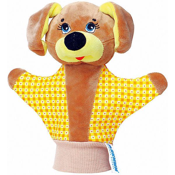 Игрушка-рукавичка Собачка, МякишиМягкие игрушки на руку<br>Характеристики товара:<br><br>• материал: трикотаж, велюр<br>• комплектация: 1 шт<br>• размер игрушки: 22х21 см<br>• размер упаковки: 22х21 см<br>• развивающая игрушка<br>• упаковка: пакет<br>• звуковой элемент внутри<br>• страна бренда: РФ<br>• страна изготовитель: РФ<br><br>Малыши активно познают мир и тянутся к новой информации. Чтобы сделать процесс изучения окружающего пространства интереснее, ребенку можно подарить развивающие игрушки. В процессе игры информация усваивается намного лучше!<br>Такие игрушки-рукавички помогут занять малыша, играть с ними приятно и весело. Игрушка имеет универсальный размер - она отлично сядет и по взрослой руке и по детской ручке. С ней можно разыграть множество сюжетов! Одновременно она позволит познакомиться с разными цветами и фактурами. Такие игрушки развивают тактильные ощущения, моторику, цветовосприятие, логику, воображение, учат фокусировать внимание. Каждое изделие абсолютно безопасно – оно создано из качественной ткани с мягким наполнителем. Игрушки производятся из качественных и проверенных материалов, которые безопасны для детей.<br><br>Игрушку-рукавичку Собачка от бренда Мякиши можно купить в нашем интернет-магазине.<br>Ширина мм: 200; Глубина мм: 80; Высота мм: 210; Вес г: 50; Возраст от месяцев: 12; Возраст до месяцев: 36; Пол: Унисекс; Возраст: Детский; SKU: 5183169;