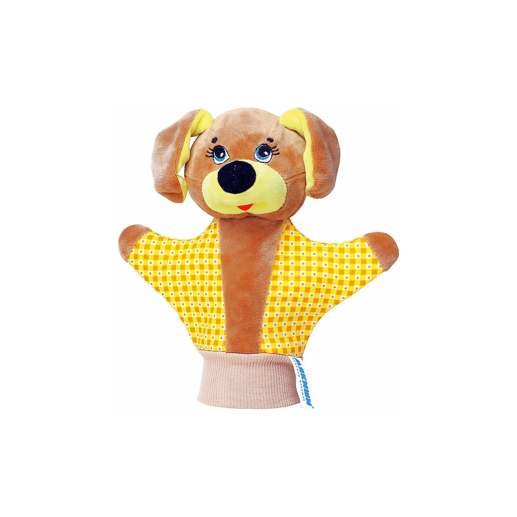 Игрушка-рукавичка Собачка, МякишиМягкие игрушки на руку<br>Характеристики товара:<br><br>• материал: трикотаж, велюр<br>• комплектация: 1 шт<br>• размер игрушки: 22х21 см<br>• размер упаковки: 22х21 см<br>• развивающая игрушка<br>• упаковка: пакет<br>• звуковой элемент внутри<br>• страна бренда: РФ<br>• страна изготовитель: РФ<br><br>Малыши активно познают мир и тянутся к новой информации. Чтобы сделать процесс изучения окружающего пространства интереснее, ребенку можно подарить развивающие игрушки. В процессе игры информация усваивается намного лучше!<br>Такие игрушки-рукавички помогут занять малыша, играть с ними приятно и весело. Игрушка имеет универсальный размер - она отлично сядет и по взрослой руке и по детской ручке. С ней можно разыграть множество сюжетов! Одновременно она позволит познакомиться с разными цветами и фактурами. Такие игрушки развивают тактильные ощущения, моторику, цветовосприятие, логику, воображение, учат фокусировать внимание. Каждое изделие абсолютно безопасно – оно создано из качественной ткани с мягким наполнителем. Игрушки производятся из качественных и проверенных материалов, которые безопасны для детей.<br><br>Игрушку-рукавичку Собачка от бренда Мякиши можно купить в нашем интернет-магазине.<br><br>Ширина мм: 200<br>Глубина мм: 80<br>Высота мм: 210<br>Вес г: 50<br>Возраст от месяцев: 12<br>Возраст до месяцев: 36<br>Пол: Унисекс<br>Возраст: Детский<br>SKU: 5183169