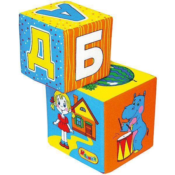Кубики АБВГДЕйка, МякишиРазвивающие игрушки<br>Характеристики товара:<br><br>• материал: хлопок, поролон<br>• комплектация: 2 кубика<br>• размер игрушки: 8-10 см<br>• размер упаковки: 25х12 см<br>• развивающая игрушка<br>• упаковка: пакет<br>• страна бренда: РФ<br>• страна изготовитель: РФ<br><br>Малыши активно познают мир и тянутся к новой информации. Чтобы сделать процесс изучения окружающего пространства интереснее, ребенку можно подарить развивающие игрушки. В процессе игры информация усваивается намного лучше!<br>Такие кубики помогут занять малыша, играть ими приятно и весело. Одновременно они позволят познакомиться со многими цветами, фактурами и предметами, которые ребенку предстоит встретить, а также начать осваивать алфавит. Такие игрушки развивают тактильные ощущения, моторику, цветовосприятие, логику, воображение, учат фокусировать внимание. Каждое изделие абсолютно безопасно – оно создано из качественной ткани с мягким наполнителем. Игрушки производятся из качественных и проверенных материалов, которые безопасны для детей.<br><br>Кубики АБВГДЕйка от бренда Мякиши можно купить в нашем интернет-магазине.<br><br>Ширина мм: 100<br>Глубина мм: 100<br>Высота мм: 100<br>Вес г: 80<br>Возраст от месяцев: 12<br>Возраст до месяцев: 36<br>Пол: Унисекс<br>Возраст: Детский<br>SKU: 5183172