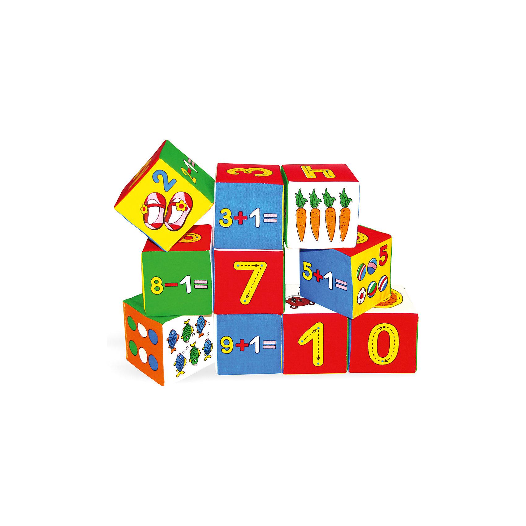 Набор кубиков «Умная математика», МякишиХарактеристики товара:<br><br>• материал: хлопок, поролон<br>• комплектация: 10 кубиков<br>• размер игрушки: 7,5 см<br>• размер упаковки: 20х50 см<br>• развивающая игрушка<br>• упаковка: пакет<br>• страна бренда: РФ<br>• страна изготовитель: РФ<br><br>Малыши активно познают мир и тянутся к новой информации. Чтобы сделать процесс изучения окружающего пространства интереснее, ребенку можно подарить развивающие игрушки. В процессе игры информация усваивается намного лучше!<br>Такие кубики помогут занять малыша, играть ими приятно и весело. Одновременно они позволят познакомиться со многими цветами, фактурами и предметами, которые ребенку предстоит встретить, а также начать осваивать счет. Такие игрушки развивают тактильные ощущения, моторику, цветовосприятие, логику, воображение, учат фокусировать внимание. Каждое изделие абсолютно безопасно – оно создано из качественной ткани с мягким наполнителем. Игрушки производятся из качественных и проверенных материалов, которые безопасны для детей.<br><br>Набор кубиков «Умная математика» от бренда Мякиши можно купить в нашем интернет-магазине.<br><br>Ширина мм: 150<br>Глубина мм: 80<br>Высота мм: 380<br>Вес г: 80<br>Возраст от месяцев: 12<br>Возраст до месяцев: 36<br>Пол: Унисекс<br>Возраст: Детский<br>SKU: 5183174
