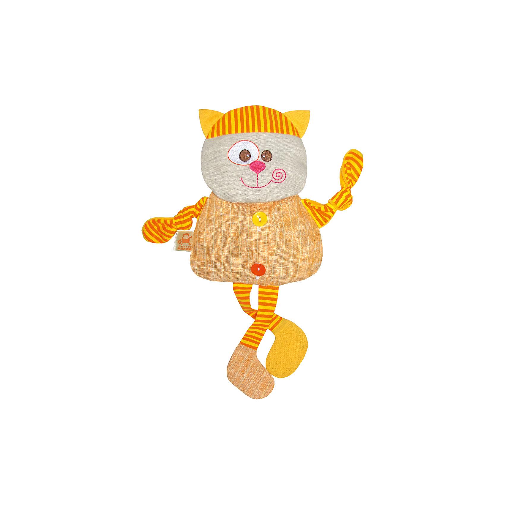 Термоигрушка Доктор Мякиш Кот, МякишиГрелки<br>Характеристики товара:<br><br>• материал: лён, вишнёвые косточки, вышивка, холлофайбер, хлопок<br>• комплектация: 1 шт<br>• размер игрушки: 33х36х5 см<br>• размер упаковки: 33х39х5 см<br>• развивающая игрушка<br>• упаковка: пакет<br>• звуковой элемент внутри<br>• страна бренда: РФ<br>• страна изготовитель: РФ<br><br>Малыши активно познают мир и тянутся к новой информации. Чтобы сделать процесс изучения окружающего пространства интереснее, ребенку можно подарить развивающие игрушки. В процессе игры информация усваивается намного лучше!<br>Такие термоигрушки содержат внутри мешочек с вишневыми косточками, которые можно нагреть или остудить, после чего вложить в игрушку. Также изделия помогут занять малыша, играть с ними приятно и весело. На них можно завязать узлы или разыграть множество сюжетов! Одновременно игрушка позволит познакомиться с разными цветами и фактурами. Такие игрушки развивают тактильные ощущения, моторику, цветовосприятие, логику, воображение, учат фокусировать внимание. Каждое изделие абсолютно безопасно – оно создано из качественной ткани с мягким наполнителем. Игрушки производятся из качественных и проверенных материалов, которые безопасны для детей.<br><br>Термоигрушку Доктор Мякиш Кот от бренда Мякиши можно купить в нашем интернет-магазине.<br><br>Ширина мм: 350<br>Глубина мм: 40<br>Высота мм: 330<br>Вес г: 150<br>Возраст от месяцев: 12<br>Возраст до месяцев: 36<br>Пол: Унисекс<br>Возраст: Детский<br>SKU: 5183186