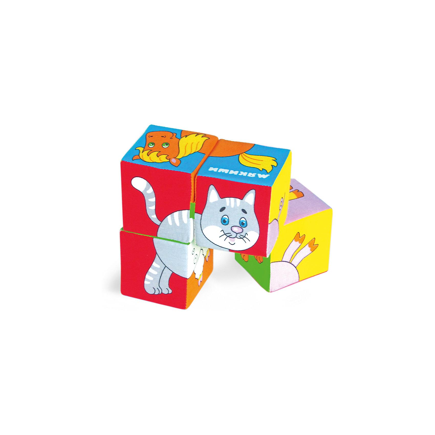 Кубики Собери картинку - домашние животные, МякишиИгрушки для малышей<br>Характеристики товара:<br><br>• материал: хлопок, поролон<br>• комплектация: 4 шт<br>• размер игрушки: 8 см<br>• можно собрать шесть животных<br>• развивающая игрушка<br>• упаковка: пакет<br>• страна бренда: РФ<br>• страна изготовитель: РФ<br><br>Малыши активно познают мир и тянутся к новой информации. Чтобы сделать процесс изучения окружающего пространства интереснее, ребенку можно подарить развивающие игрушки. В процессе игры информация усваивается намного лучше!<br>Такие кубики помогут занять малыша, играть ими приятно и весело. Одновременно они позволят познакомиться со многими цветами, фактурами, а также из них можно собрать шесть животных. Такие игрушки развивают тактильные ощущения, моторику, цветовосприятие, логику, воображение, учат фокусировать внимание. Каждое изделие абсолютно безопасно – оно создано из качественной ткани с мягким наполнителем. Игрушки производятся из качественных и проверенных материалов, которые безопасны для детей.<br><br>Кубики Собери картинку - домашние животные от бренда Мякиши можно купить в нашем интернет-магазине.<br><br>Ширина мм: 160<br>Глубина мм: 80<br>Высота мм: 160<br>Вес г: 80<br>Возраст от месяцев: 12<br>Возраст до месяцев: 36<br>Пол: Унисекс<br>Возраст: Детский<br>SKU: 5183188