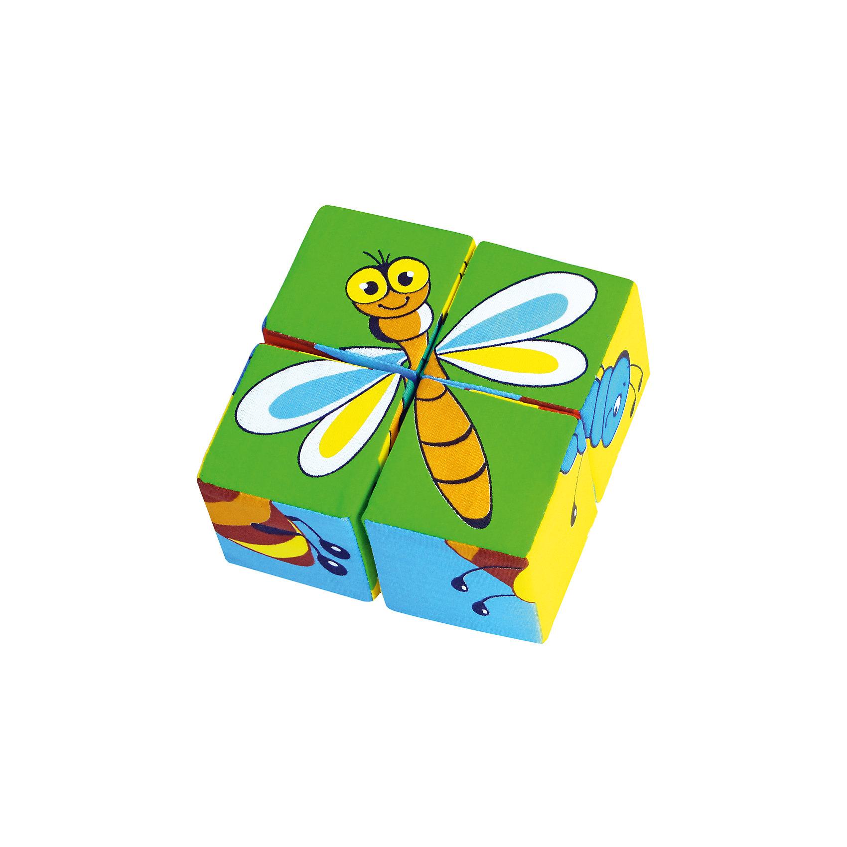 Кубики Собери картинку - насекомые, МякишиХарактеристики товара:<br><br>• материал: хлопок, поролон<br>• комплектация: 4 шт<br>• размер игрушки: 6 см<br>• можно собрать шесть насекомых<br>• развивающая игрушка<br>• упаковка: пакет<br>• страна бренда: РФ<br>• страна изготовитель: РФ<br><br>Малыши активно познают мир и тянутся к новой информации. Чтобы сделать процесс изучения окружающего пространства интереснее, ребенку можно подарить развивающие игрушки. В процессе игры информация усваивается намного лучше!<br>Такие кубики помогут занять малыша, играть ими приятно и весело. Одновременно они позволят познакомиться со многими цветами, фактурами, а также из них можно собрать шесть насекомых. Такие игрушки развивают тактильные ощущения, моторику, цветовосприятие, логику, воображение, учат фокусировать внимание. Каждое изделие абсолютно безопасно – оно создано из качественной ткани с мягким наполнителем. Игрушки производятся из качественных и проверенных материалов, которые безопасны для детей.<br><br>Кубики Собери картинку - насекомые от бренда Мякиши можно купить в нашем интернет-магазине.<br><br>Ширина мм: 120<br>Глубина мм: 60<br>Высота мм: 120<br>Вес г: 80<br>Возраст от месяцев: 12<br>Возраст до месяцев: 36<br>Пол: Унисекс<br>Возраст: Детский<br>SKU: 5183191