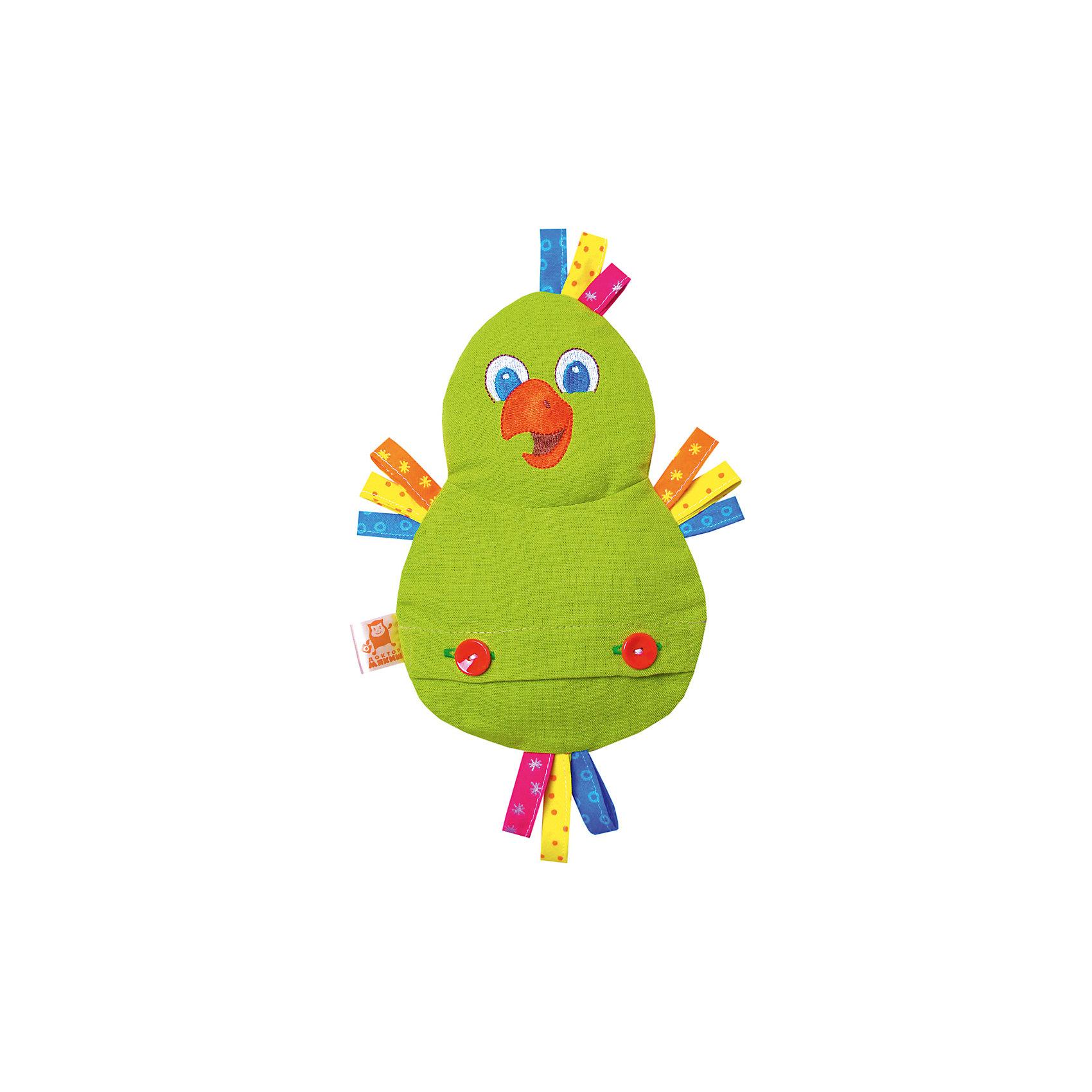 Игрушка на руку Доктор Мякиш-Попугай, МякишиМягкие игрушки<br>Характеристики товара:<br><br>• материал: лён, вишнёвые косточки, вышивка, холлофайбер, хлопок<br>• комплектация: 1 шт<br>• размер игрушки: 18х27х4 см<br>• размер упаковки: 18х32х4 см<br>• развивающая игрушка<br>• упаковка: ламинированный картонный холдер<br>• вишневые косточки внутри<br>• страна бренда: РФ<br>• страна изготовитель: РФ<br><br>Малыши активно познают мир и тянутся к новой информации. Чтобы сделать процесс изучения окружающего пространства интереснее, ребенку можно подарить развивающие игрушки. В процессе игры информация усваивается намного лучше!<br>Такие термоигрушки содержат внутри мешочек с вишневыми косточками, которые можно нагреть или остудить, после чего вложить в игрушку. Также изделия помогут занять малыша, играть с ними приятно и весело. Одновременно игрушка позволит познакомиться с разными цветами и фактурами. Такие игрушки развивают тактильные ощущения, моторику, цветовосприятие, логику, воображение, учат фокусировать внимание. Каждое изделие абсолютно безопасно – оно создано из качественной ткани с мягким наполнителем. Игрушки производятся из качественных и проверенных материалов, которые безопасны для детей.<br><br>Термоигрушку Доктор Мякиш-Попугай от бренда Мякиши можно купить в нашем интернет-магазине.<br><br>Ширина мм: 270<br>Глубина мм: 40<br>Высота мм: 180<br>Вес г: 150<br>Возраст от месяцев: 12<br>Возраст до месяцев: 36<br>Пол: Унисекс<br>Возраст: Детский<br>SKU: 5183193