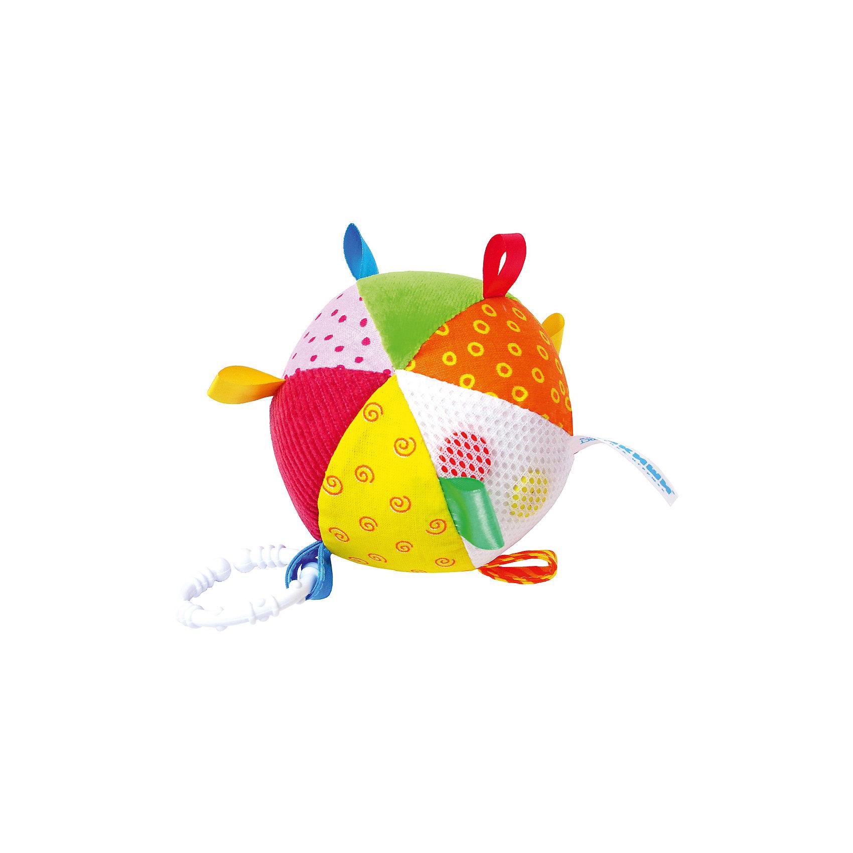 Мячик с петельками, МякишиМягкие игрушки<br>Характеристики товара:<br><br>• материал: разнофактурный текстиль, холлофайбер, пластмасса<br>• комплектация: 1 шт<br>• размер игрушки: 10 см<br>• звуковой элемент<br>• развивающая игрушка<br>• упаковка: пламинированный картонный холдер<br>• страна бренда: РФ<br>• страна изготовитель: РФ<br><br>Малыши активно познают мир и тянутся к новой информации. Чтобы сделать процесс изучения окружающего пространства интереснее, ребенку можно подарить развивающие игрушки. В процессе игры информация усваивается намного лучше!<br>Такие игрушки помогут занять малыша, играть ими приятно и весело. Одновременно они позволят познакомиться со многими цветами, фактурами, а также научиться извлекать звук. Подобные игрушки развивают тактильные ощущения, моторику, цветовосприятие, логику, воображение, учат фокусировать внимание. Каждое изделие абсолютно безопасно – оно создано из качественной ткани с мягким наполнителем. Игрушки производятся из качественных и проверенных материалов, которые безопасны для детей.<br><br>Мячик с петельками от бренда Мякиши можно купить в нашем интернет-магазине.<br><br>Ширина мм: 100<br>Глубина мм: 100<br>Высота мм: 100<br>Вес г: 80<br>Возраст от месяцев: 12<br>Возраст до месяцев: 36<br>Пол: Унисекс<br>Возраст: Детский<br>SKU: 5183199