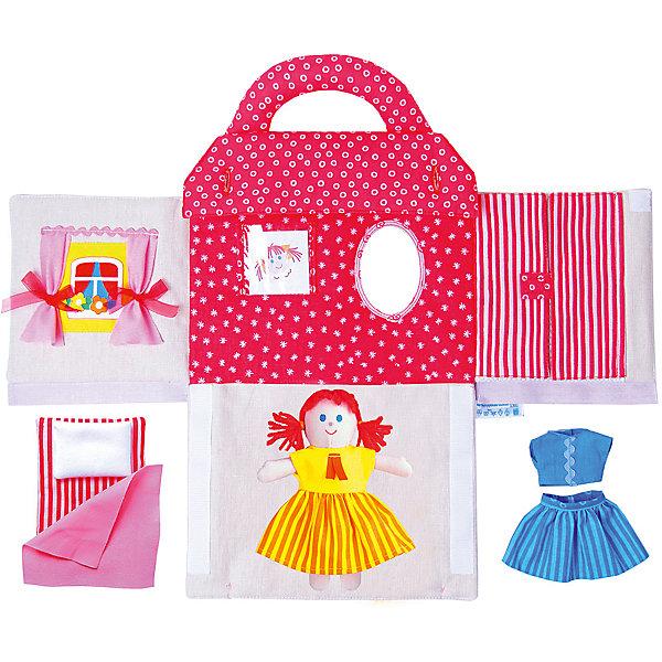 Игрушка Кукольный домик Маняши, МякишиДомики для кукол<br>Характеристики товара:<br><br>• материал: лён, пряжа, трикотаж, полиэтилен<br>• комплектация: сумочка, куколка, аксессуары<br>• размер игрушки: 27х24х4 см<br>• развивающая игрушка<br>• упаковка: индивидуальная ПВХ сумочка<br>• страна бренда: РФ<br>• страна изготовитель: РФ<br><br>Малыши активно познают мир и тянутся к новой информации. Чтобы сделать процесс изучения окружающего пространства интереснее, ребенку можно подарить развивающие игрушки. В процессе игры информация усваивается намного лучше!<br>Такой домик поможет занять малыша, играть с ним приятно и весело. Кукла в нем имеет свою постель а наряды в гарберобе! Такая игрушка позволит потренировать механизмы социального взаимодействия, а также познакомиться со многими цветами и фактурами. Подобные изделия развивают тактильные ощущения, моторику, цветовосприятие, логику, воображение, учат фокусировать внимание. Каждое изделие абсолютно безопасно – оно создано из качественной ткани с мягким наполнителем. Игрушки производятся из качественных и проверенных материалов, которые безопасны для детей.<br><br>Игрушку Кукольный домик Маняши от бренда Мякиши можно купить в нашем интернет-магазине.<br><br>Ширина мм: 270<br>Глубина мм: 240<br>Высота мм: 40<br>Вес г: 300<br>Возраст от месяцев: 12<br>Возраст до месяцев: 36<br>Пол: Женский<br>Возраст: Детский<br>SKU: 5183205