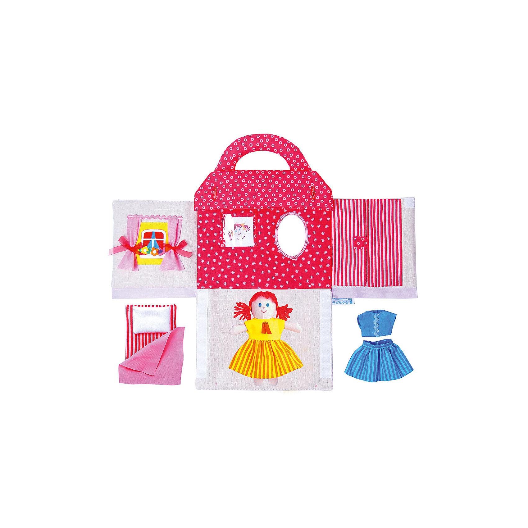 Игрушка Кукольный домик Маняши, МякишиМягкие игрушки<br>Характеристики товара:<br><br>• материал: лён, пряжа, трикотаж, полиэтилен<br>• комплектация: сумочка, куколка, аксессуары<br>• размер игрушки: 27х24х4 см<br>• развивающая игрушка<br>• упаковка: индивидуальная ПВХ сумочка<br>• страна бренда: РФ<br>• страна изготовитель: РФ<br><br>Малыши активно познают мир и тянутся к новой информации. Чтобы сделать процесс изучения окружающего пространства интереснее, ребенку можно подарить развивающие игрушки. В процессе игры информация усваивается намного лучше!<br>Такой домик поможет занять малыша, играть с ним приятно и весело. Кукла в нем имеет свою постель а наряды в гарберобе! Такая игрушка позволит потренировать механизмы социального взаимодействия, а также познакомиться со многими цветами и фактурами. Подобные изделия развивают тактильные ощущения, моторику, цветовосприятие, логику, воображение, учат фокусировать внимание. Каждое изделие абсолютно безопасно – оно создано из качественной ткани с мягким наполнителем. Игрушки производятся из качественных и проверенных материалов, которые безопасны для детей.<br><br>Игрушку Кукольный домик Маняши от бренда Мякиши можно купить в нашем интернет-магазине.<br><br>Ширина мм: 270<br>Глубина мм: 240<br>Высота мм: 40<br>Вес г: 300<br>Возраст от месяцев: 12<br>Возраст до месяцев: 36<br>Пол: Женский<br>Возраст: Детский<br>SKU: 5183205