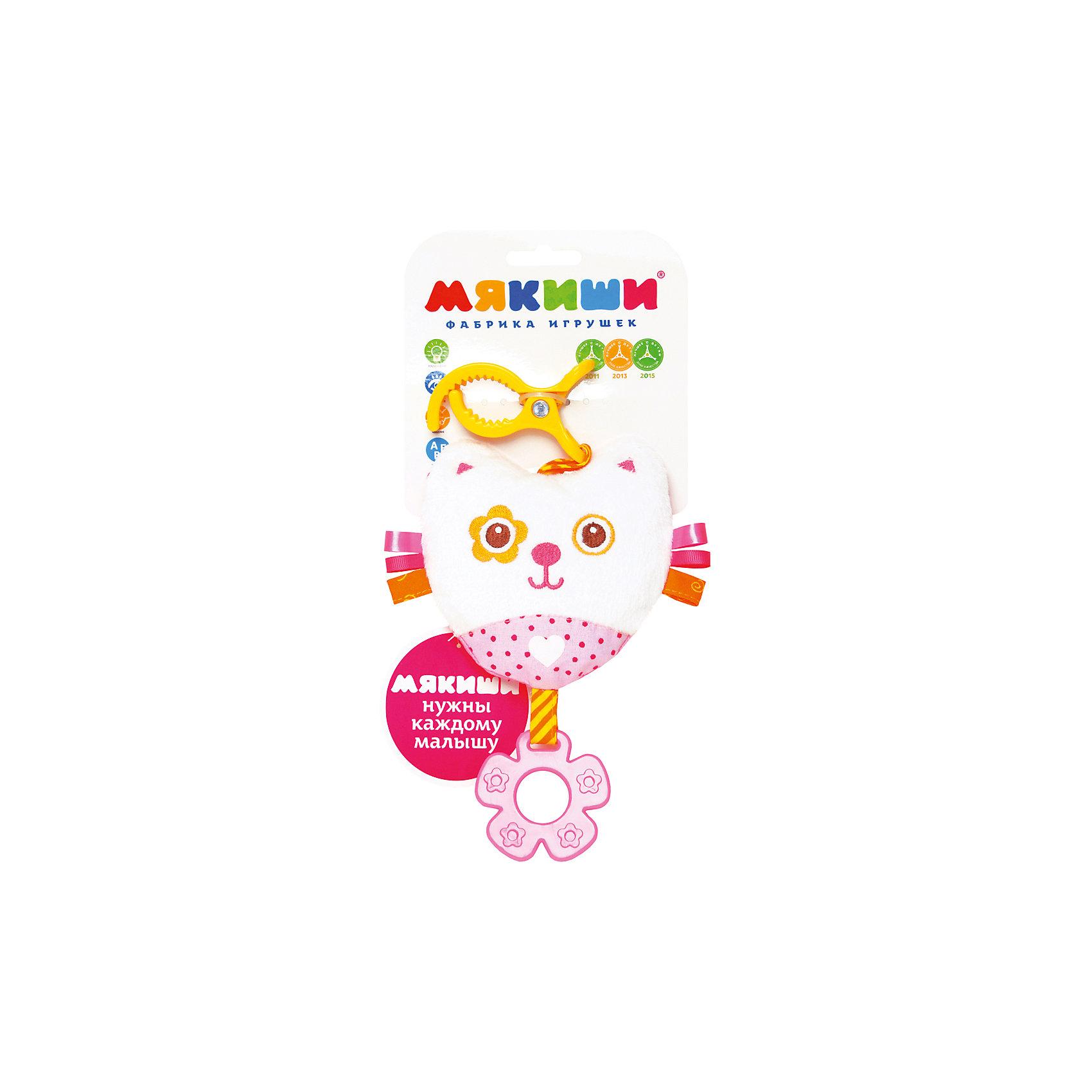 Подвеска Котенок, МякишиМягкие игрушки<br>Характеристики товара:<br><br>• материал: разнофактурный текстиль, холлофайбер<br>• комплектация: 1 шт<br>• размер игрушки: 16х29х4 см<br>• звуковой элемент<br>• клипса для крепления<br>• прорезыватель<br>• развивающая игрушка<br>• упаковка: ламинированный картонный холдер<br>• страна бренда: РФ<br>• страна изготовитель: РФ<br><br>Малыши активно познают мир и тянутся к новой информации. Чтобы сделать процесс изучения окружающего пространства интереснее, ребенку можно подарить развивающие игрушки. В процессе игры информация усваивается намного лучше!<br>Такие игрушки помогут занять малыша, играть ими приятно и весело. Одновременно они позволят познакомиться со многими цветами, фактурами, а также научиться извлекать звук. Подобные игрушки развивают тактильные ощущения, моторику, цветовосприятие, логику, воображение, учат фокусировать внимание. Каждое изделие абсолютно безопасно – оно создано из качественной ткани с мягким наполнителем. Игрушки производятся из качественных и проверенных материалов, которые безопасны для детей.<br><br>Подвеску Котенок от бренда Мякиши можно купить в нашем интернет-магазине.<br><br>Ширина мм: 320<br>Глубина мм: 150<br>Высота мм: 40<br>Вес г: 40<br>Возраст от месяцев: 12<br>Возраст до месяцев: 36<br>Пол: Женский<br>Возраст: Детский<br>SKU: 5183209