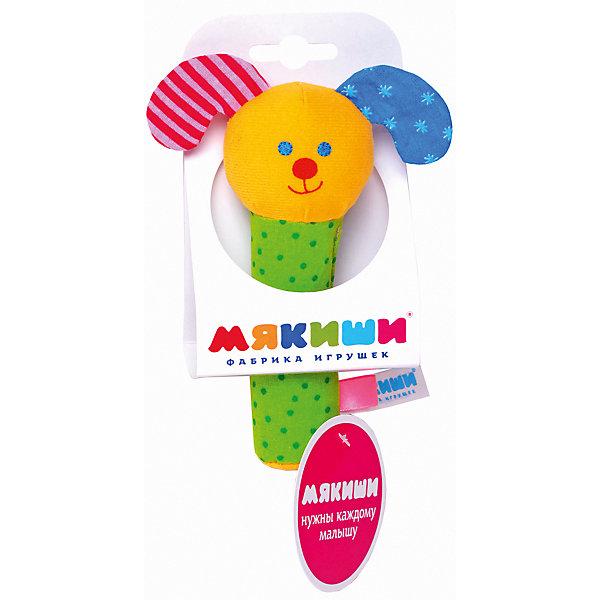 Погремушка Собачка, МякишиИгрушки для новорожденных<br>Характеристики товара:<br><br>• материал: разнофактурный текстиль, холлофайбер<br>• комплектация: 1 шт<br>• размер игрушки: 10х13 см<br>• звуковой элемент<br>• развивающая игрушка<br>• упаковка: ламинированный картонный холдер<br>• страна бренда: РФ<br>• страна изготовитель: РФ<br><br>Малыши активно познают мир и тянутся к новой информации. Чтобы сделать процесс изучения окружающего пространства интереснее, ребенку можно подарить развивающие игрушки. В процессе игры информация усваивается намного лучше!<br>Такие игрушки помогут занять малыша, играть ими приятно и весело. Одновременно они позволят познакомиться со многими цветами, фактурами, а также научиться извлекать звук. Подобные игрушки развивают тактильные ощущения, моторику, цветовосприятие, логику, воображение, учат фокусировать внимание. Каждое изделие абсолютно безопасно – оно создано из качественной ткани с мягким наполнителем. Игрушки производятся из качественных и проверенных материалов, которые безопасны для детей.<br><br>Погремушку Собачка от бренда Мякиши можно купить в нашем интернет-магазине.<br>Ширина мм: 170; Глубина мм: 40; Высота мм: 70; Вес г: 40; Возраст от месяцев: 12; Возраст до месяцев: 36; Пол: Унисекс; Возраст: Детский; SKU: 5183211;