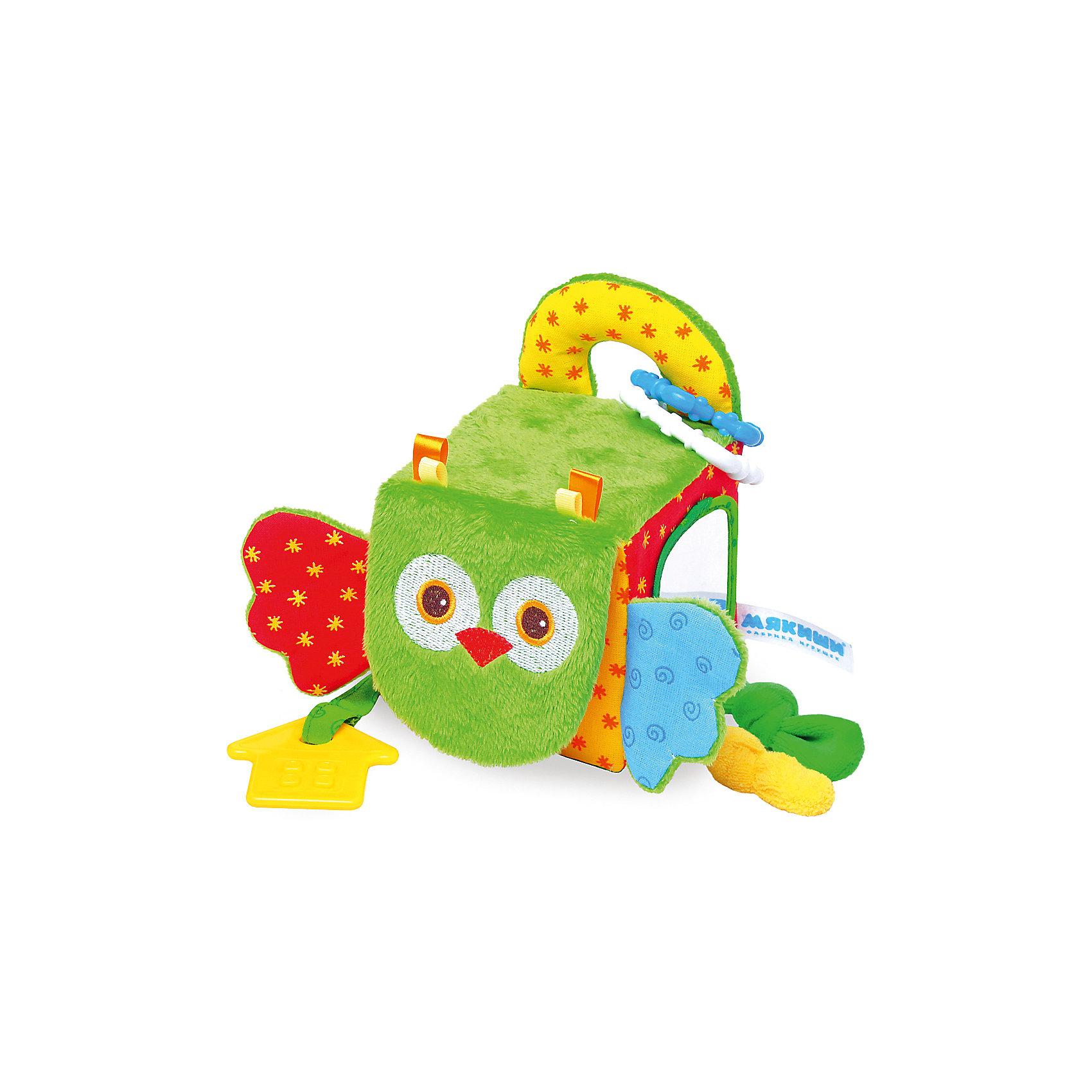 Кубик Сова, МякишиМягкие игрушки<br>Характеристики товара:<br><br>• материал: разнофактурный текстиль, поролон<br>• комплектация: 1 шт<br>• размер игрушки: 5х20х10 см<br>• звуковой элемент<br>• подвес<br>• прорезыватель<br>• развивающая игрушка<br>• упаковка: картон<br>• страна бренда: РФ<br>• страна изготовитель: РФ<br><br>Малыши активно познают мир и тянутся к новой информации. Чтобы сделать процесс изучения окружающего пространства интереснее, ребенку можно подарить развивающие игрушки. В процессе игры информация усваивается намного лучше!<br>Такие игрушки помогут занять малыша, играть ими приятно и весело. Одновременно они позволят познакомиться со многими цветами, фактурами, а также научиться извлекать звук. Подобные игрушки развивают тактильные ощущения, моторику, цветовосприятие, логику, воображение, учат фокусировать внимание. Каждое изделие абсолютно безопасно – оно создано из качественной ткани с мягким наполнителем. Игрушки производятся из качественных и проверенных материалов, которые безопасны для детей.<br><br>Кубик Сова от бренда Мякиши можно купить в нашем интернет-магазине.<br><br>Ширина мм: 155<br>Глубина мм: 200<br>Высота мм: 100<br>Вес г: 90<br>Возраст от месяцев: 12<br>Возраст до месяцев: 36<br>Пол: Унисекс<br>Возраст: Детский<br>SKU: 5183213