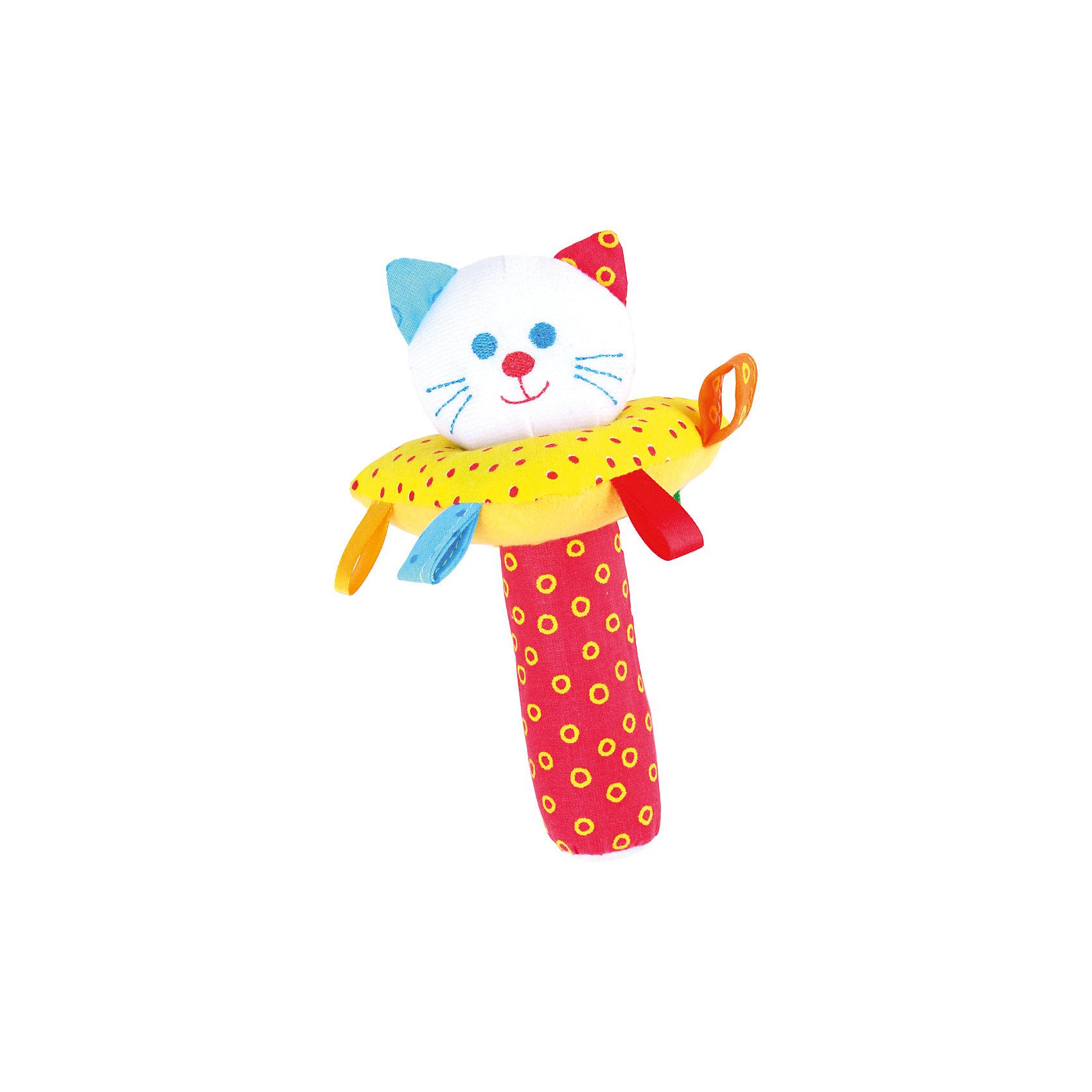 Пирамидка с погремушкой  Котик, МякишиИгрушки для малышей<br>Характеристики товара:<br><br>• материал: разнофактурный текстиль, поролон, холлофайбер<br>• комплектация: 1 шт<br>• размер игрушки: 25х15 см<br>• звуковой элемент<br>• пирамидка<br>• развивающая игрушка<br>• упаковка: пакет<br>• страна бренда: РФ<br>• страна изготовитель: РФ<br><br>Малыши активно познают мир и тянутся к новой информации. Чтобы сделать процесс изучения окружающего пространства интереснее, ребенку можно подарить развивающие игрушки. В процессе игры информация усваивается намного лучше!<br>Такие игрушки помогут занять малыша, играть ими приятно и весело. Одновременно они позволят познакомиться со многими цветами, фактурами, а также научиться извлекать звук. Подобные игрушки развивают тактильные ощущения, моторику, цветовосприятие, логику, воображение, учат фокусировать внимание. Каждое изделие абсолютно безопасно – оно создано из качественной ткани с мягким наполнителем. Игрушки производятся из качественных и проверенных материалов, которые безопасны для детей.<br><br>Пирамидку с погремушкой Котик от бренда Мякиши можно купить в нашем интернет-магазине.<br><br>Ширина мм: 200<br>Глубина мм: 150<br>Высота мм: 150<br>Вес г: 50<br>Возраст от месяцев: 12<br>Возраст до месяцев: 36<br>Пол: Унисекс<br>Возраст: Детский<br>SKU: 5183218