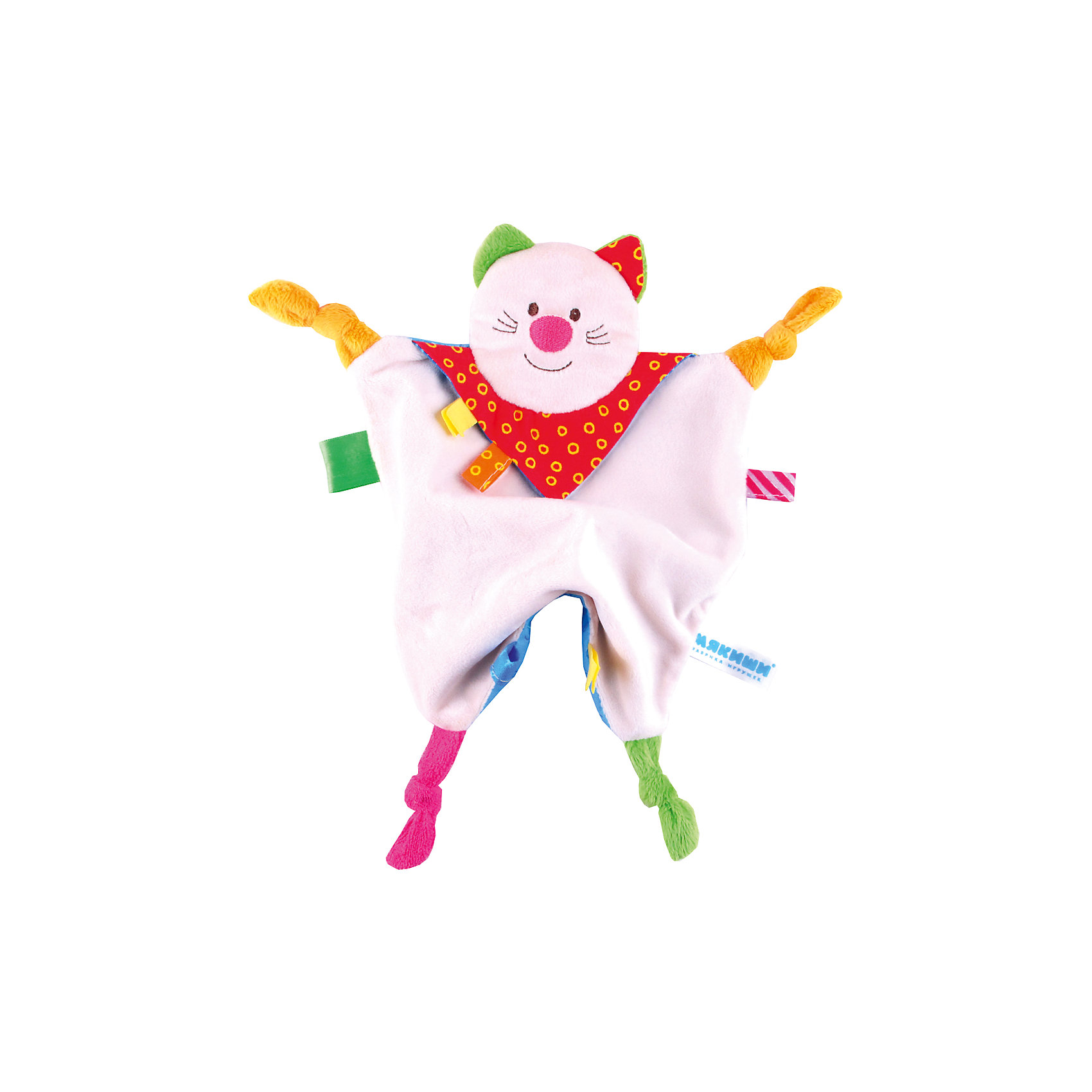 Платочек Котенок, МякишиМягкие игрушки<br>Характеристики товара:<br><br>• материал: разнофактурный текстиль, поролон<br>• комплектация: 1 шт<br>• размер игрушки: 35х20 см<br>• петельки<br>• прорезыватель<br>• развивающая игрушка<br>• упаковка: картон<br>• страна бренда: РФ<br>• страна изготовитель: РФ<br><br>Малыши активно познают мир и тянутся к новой информации. Чтобы сделать процесс изучения окружающего пространства интереснее, ребенку можно подарить развивающие игрушки. В процессе игры информация усваивается намного лучше!<br>Такие игрушки помогут занять малыша, играть ими приятно и весело. Одновременно они позволят познакомиться со многими цветами, фактурами, а также научиться завязывать петли. Подобные игрушки развивают тактильные ощущения, моторику, цветовосприятие, логику, воображение, учат фокусировать внимание. Каждое изделие абсолютно безопасно – оно создано из качественной ткани с мягким наполнителем. Игрушки производятся из качественных и проверенных материалов, которые безопасны для детей.<br><br>Платочек Котенок от бренда Мякиши можно купить в нашем интернет-магазине.<br><br>Ширина мм: 250<br>Глубина мм: 20<br>Высота мм: 200<br>Вес г: 50<br>Возраст от месяцев: 12<br>Возраст до месяцев: 36<br>Пол: Унисекс<br>Возраст: Детский<br>SKU: 5183221