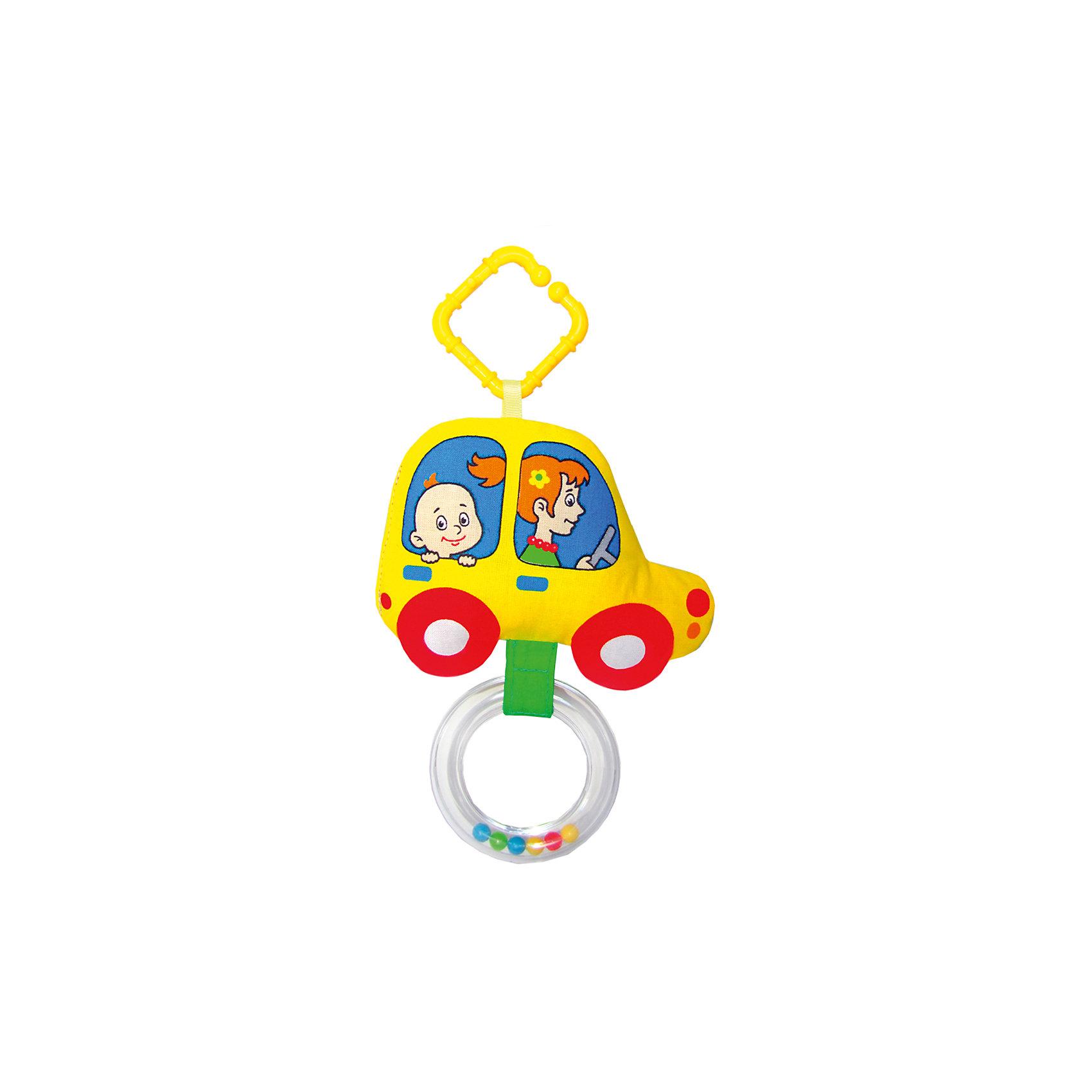 Мякиши Мягкая развивающая подвеска «Машинка», Мякиши игрушка погремушка мякиши медвежонок колечко