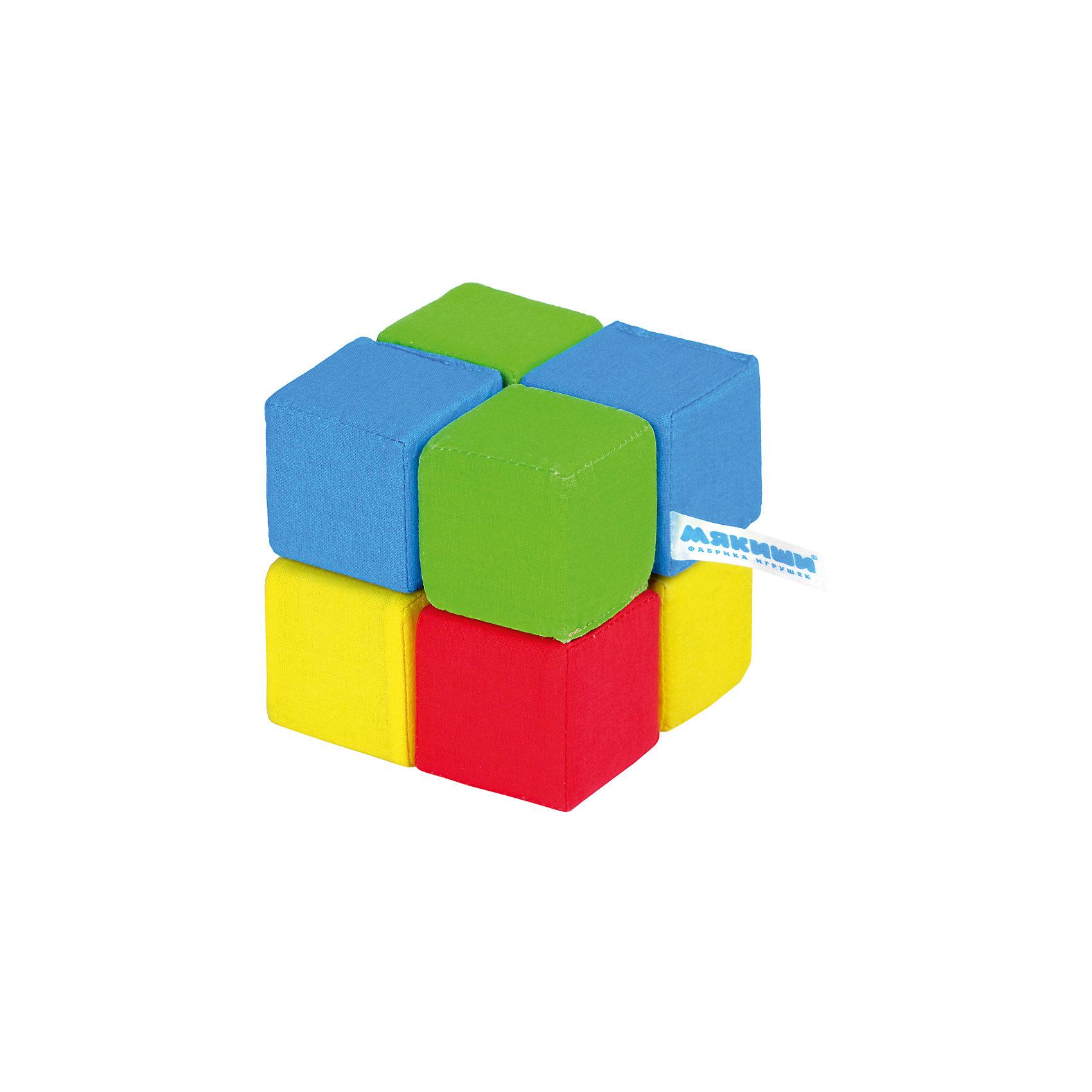 Кубики Четыре цвета, МякишиИгрушки для малышей<br>Характеристики товара:<br><br>• материал: хлопок, поролон<br>• комплектация: 8 шт<br>• размер кубика: 5х5 см<br>• размер упаковки: 15 x 18 x 10 см<br>• развивающая игрушка<br>• звуковой элемент в одном кубике<br>• упаковка: пакет<br>• страна бренда: РФ<br>• страна изготовитель: РФ<br><br>Малыши активно познают мир и тянутся к новой информации. Чтобы сделать процесс изучения окружающего пространства интереснее, ребенку можно подарить развивающие игрушки. В процессе игры информация усваивается намного лучше!<br>Такие кубики помогут занять малыша, играть ими приятно и весело. Одновременно они позволят познакомиться с разными цветами. Такие игрушки развивают тактильные ощущения, моторику, цветовосприятие, логику, воображение, учат фокусировать внимание. Каждое изделие абсолютно безопасно – оно создано из качественной ткани с мягким наполнителем. Игрушки производятся из качественных и проверенных материалов, которые безопасны для детей.<br><br>Кубики Четыре цвета от бренда Мякиши можно купить в нашем интернет-магазине.<br><br>Ширина мм: 150<br>Глубина мм: 180<br>Высота мм: 100<br>Вес г: 80<br>Возраст от месяцев: 12<br>Возраст до месяцев: 36<br>Пол: Унисекс<br>Возраст: Детский<br>SKU: 5183223