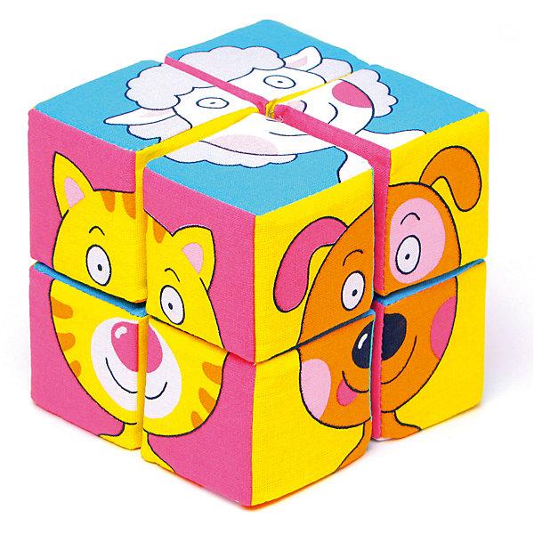 Кубики Собираем картину - зверята, МякишиРазвивающие игрушки<br>Характеристики товара:<br><br>• материал: хлопок, поролон<br>• комплектация: 8 шт<br>• размер игрушки: 5 см<br>• можно собрать шесть картинок<br>• развивающая игрушка<br>• упаковка: картон<br>• страна бренда: РФ<br>• страна изготовитель: РФ<br><br>Малыши активно познают мир и тянутся к новой информации. Чтобы сделать процесс изучения окружающего пространства интереснее, ребенку можно подарить развивающие игрушки. В процессе игры информация усваивается намного лучше!<br>Такие кубики помогут занять малыша, играть ими приятно и весело. Одновременно они позволят познакомиться со многими цветами, фактурами, а также из них можно собрать шесть зверей. Такие игрушки развивают тактильные ощущения, моторику, цветовосприятие, логику, воображение, учат фокусировать внимание. Каждое изделие абсолютно безопасно – оно создано из качественной ткани с мягким наполнителем. Игрушки производятся из качественных и проверенных материалов, которые безопасны для детей.<br><br>Кубики Собери картинку - зверята от бренда Мякиши можно купить в нашем интернет-магазине.<br><br>Ширина мм: 155<br>Глубина мм: 180<br>Высота мм: 100<br>Вес г: 80<br>Возраст от месяцев: 12<br>Возраст до месяцев: 36<br>Пол: Унисекс<br>Возраст: Детский<br>SKU: 5183226